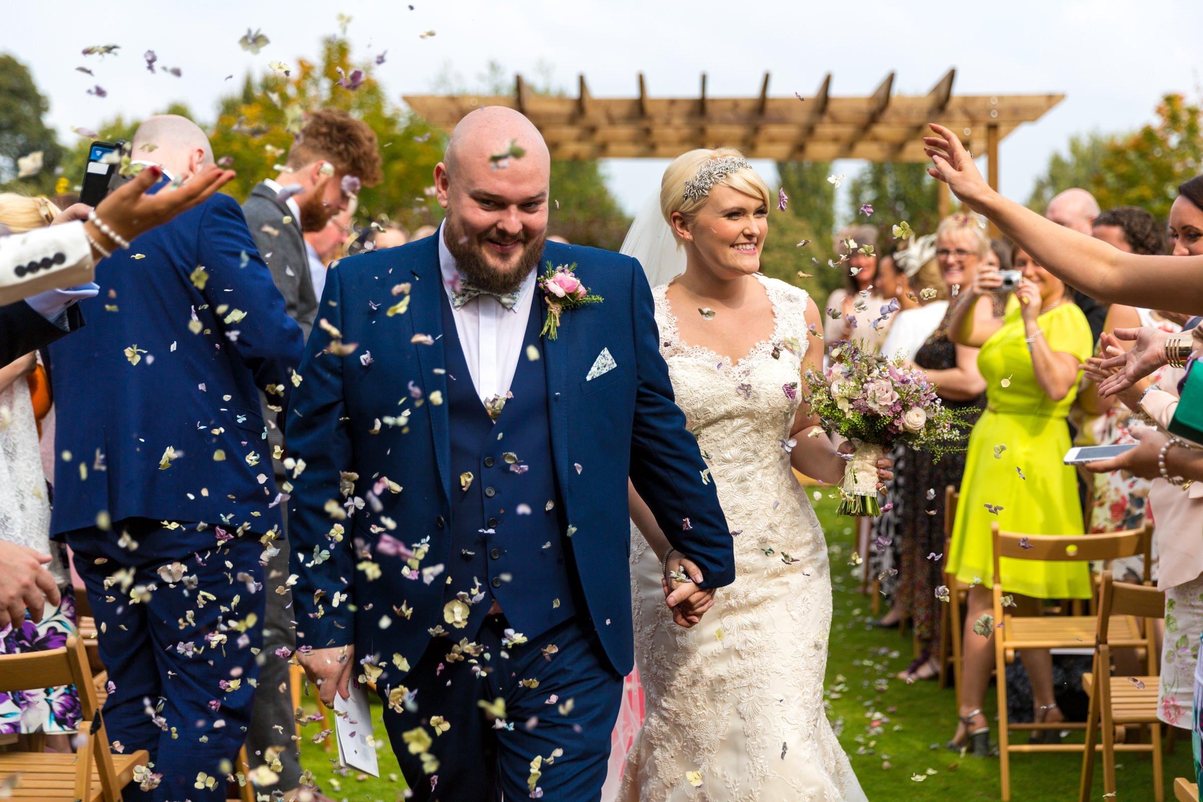 Colourful confetti wedding photo