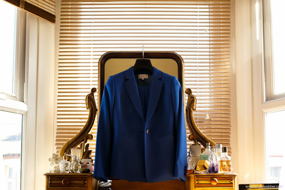 Bride's blue suit from Reiss