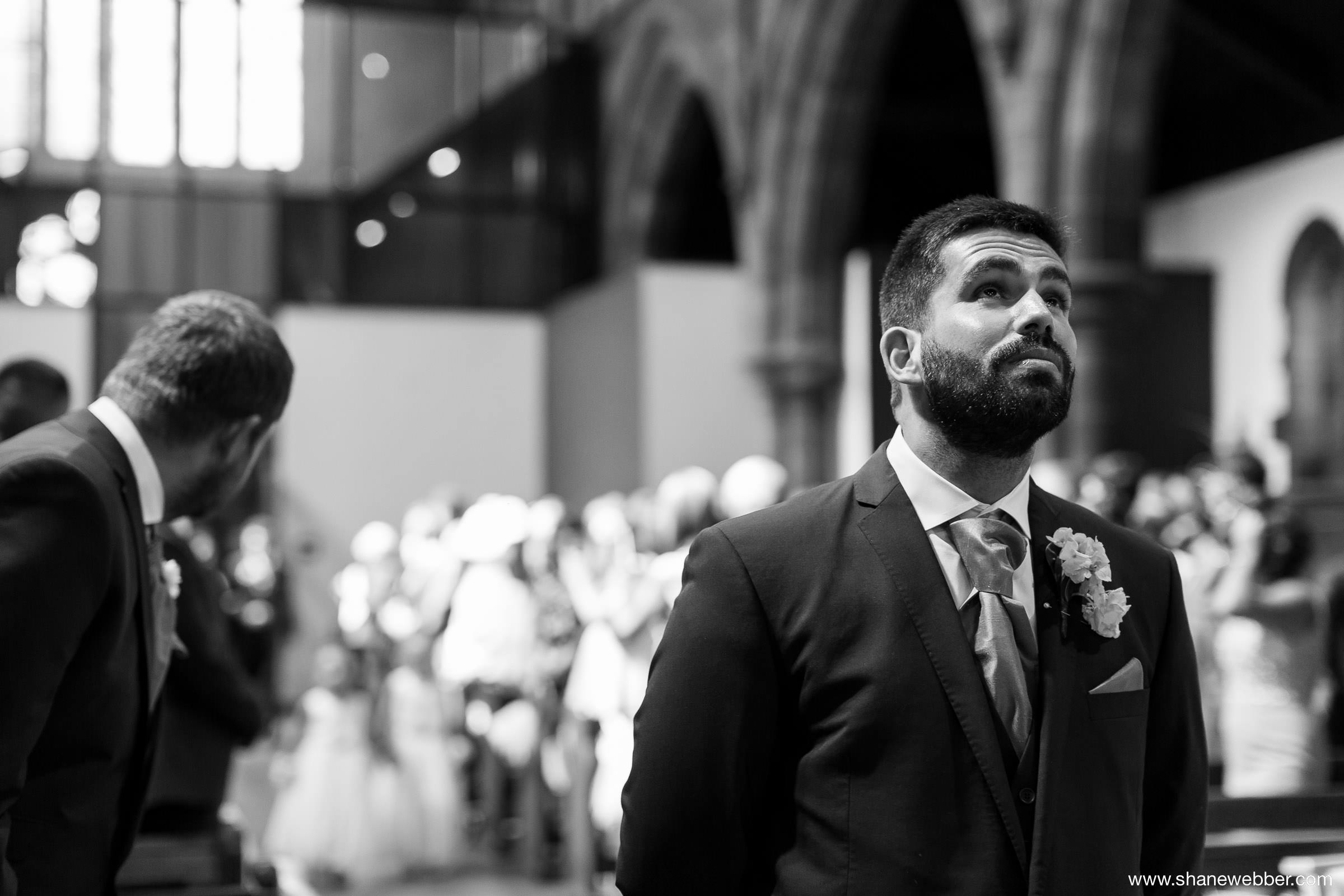 Nervous groom at wedding