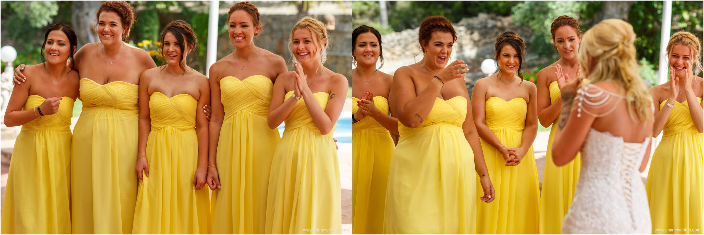 Bridesmaids first look wedding photo