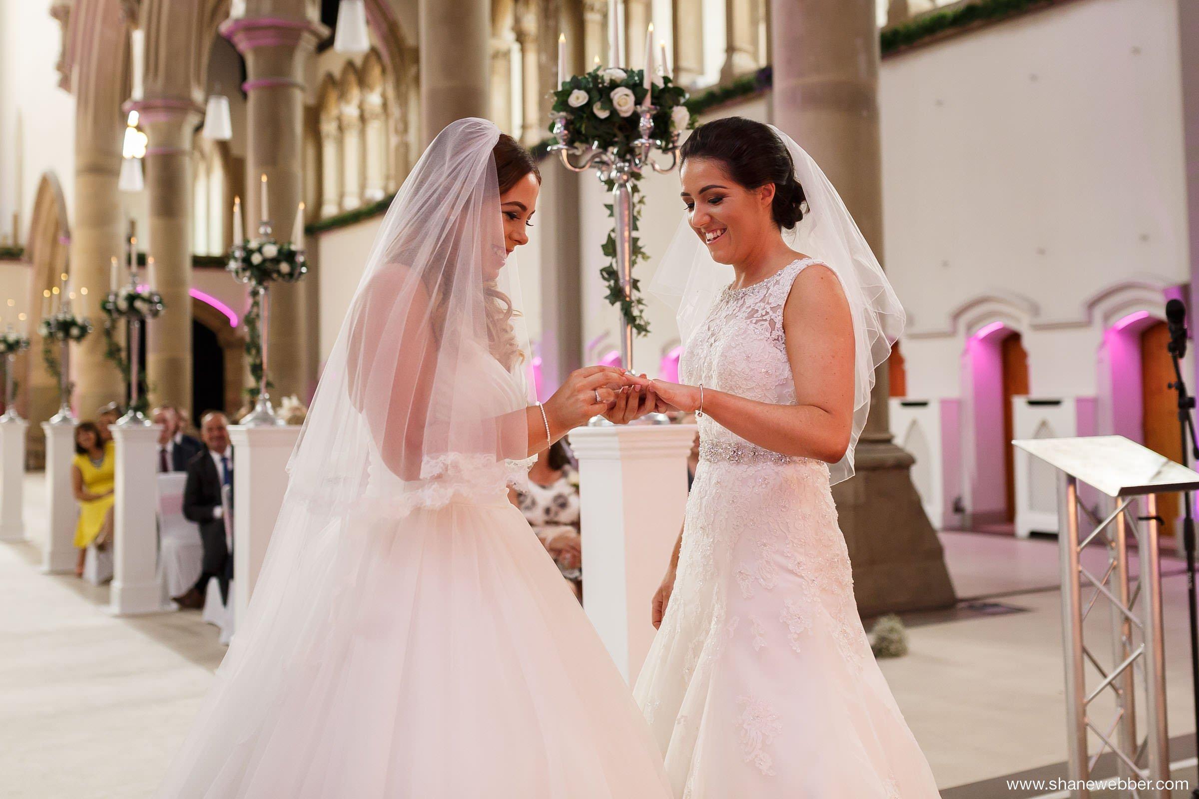 Natural photos of same sex wedding at Gorton Monastery Manchester