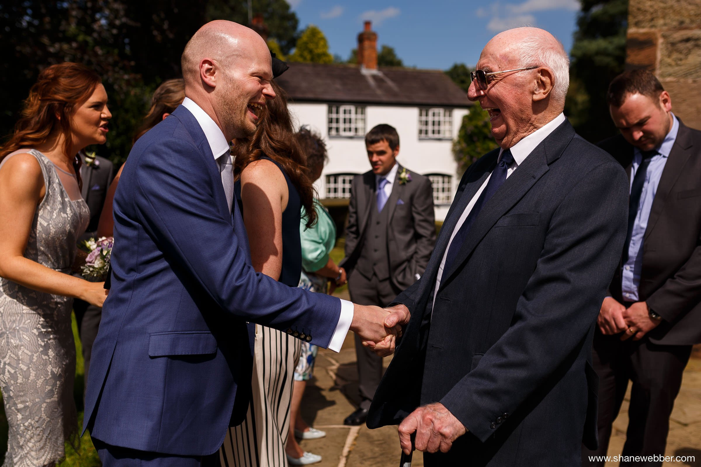 Groom with Grandad at wedding