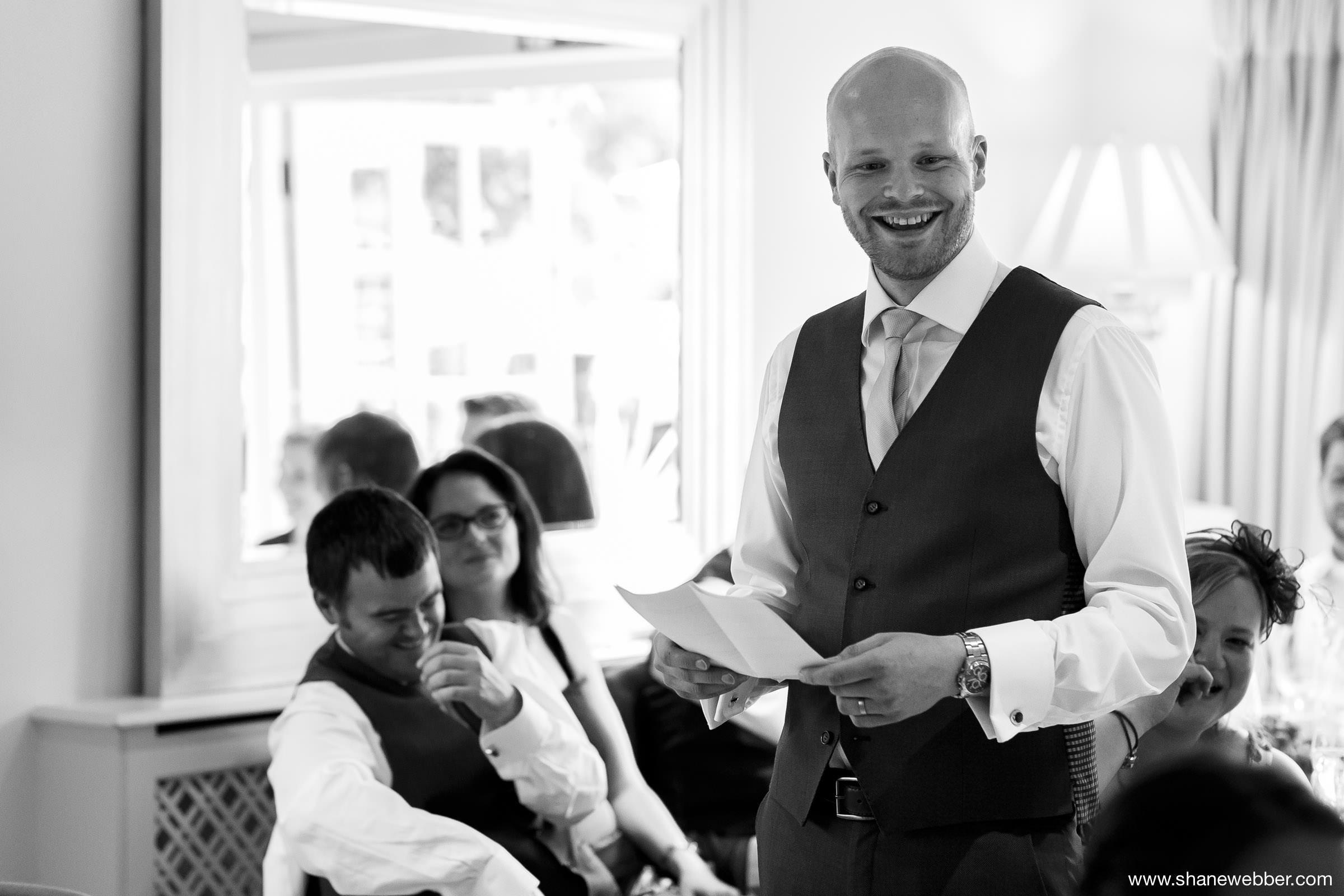 Wedding speeches at the Yellow Broom Restaurant Cheshire