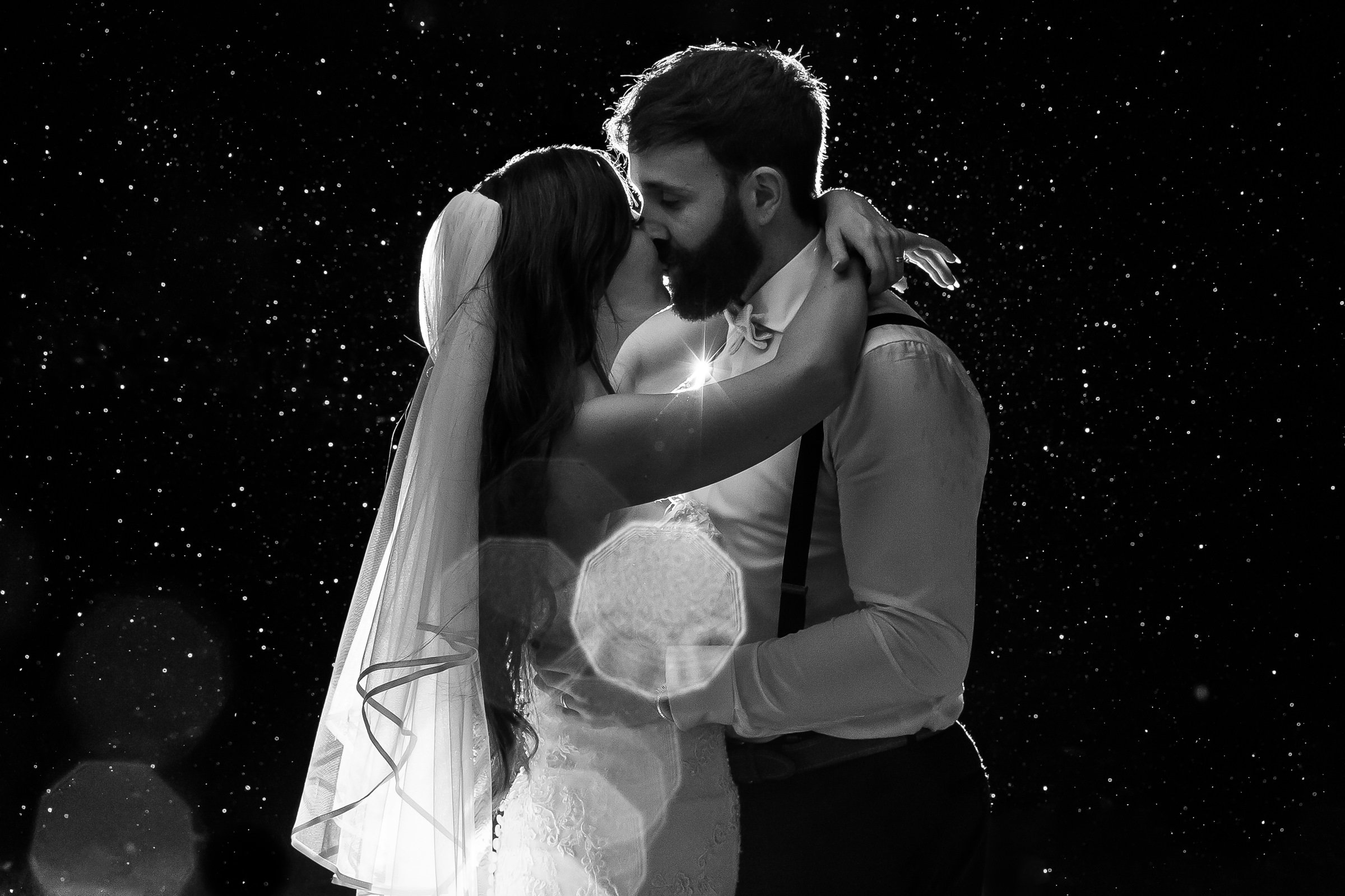Night time black and white wedding photo
