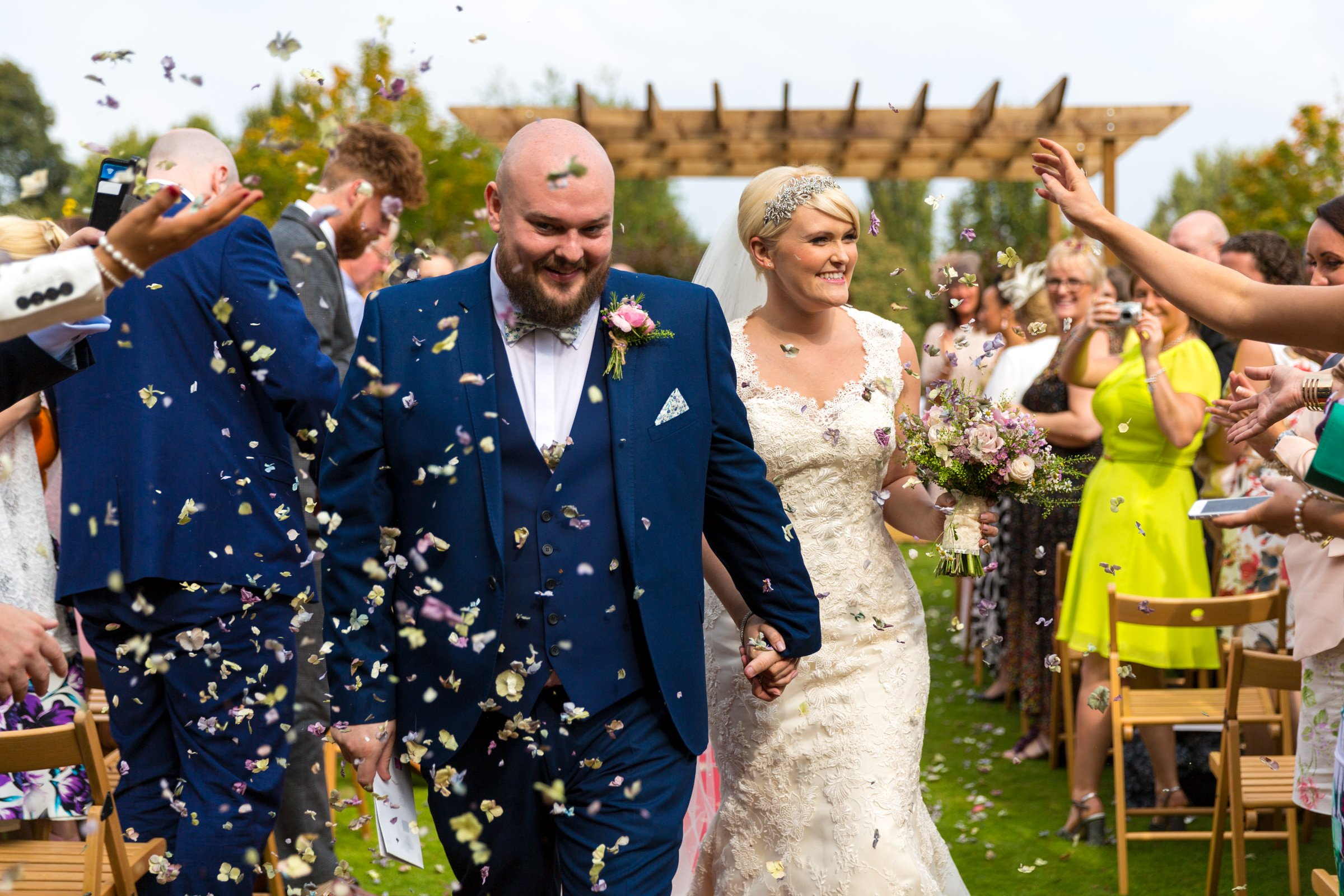Colourful confetti wedding photo