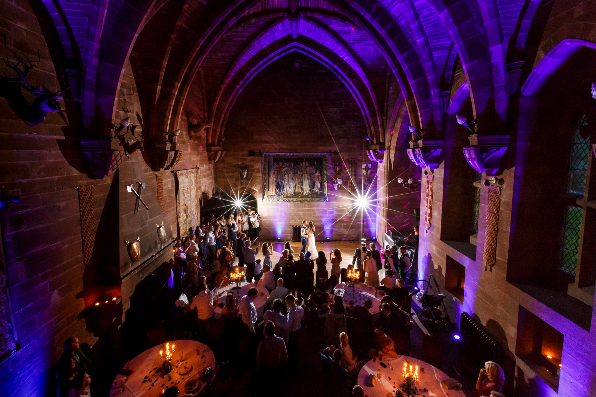 Creative wedding photography at Peckforton Castle
