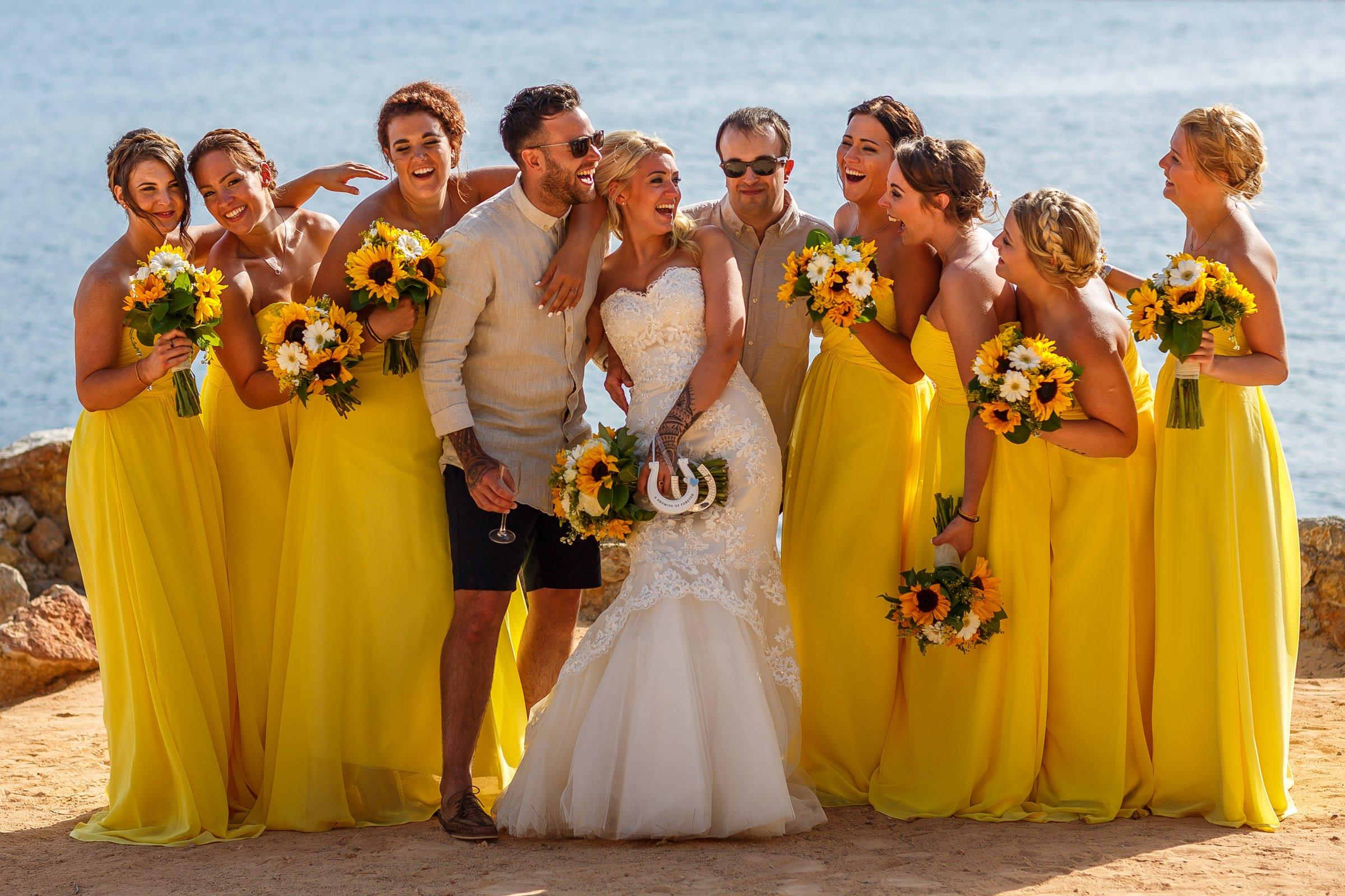Fun wedding group photo of bridal party