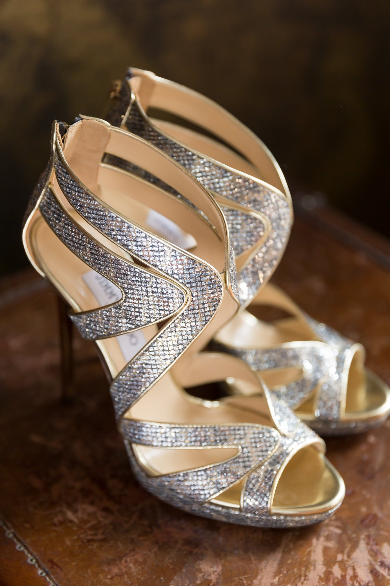 Gold and silver Jimmy Choo wedding shoes