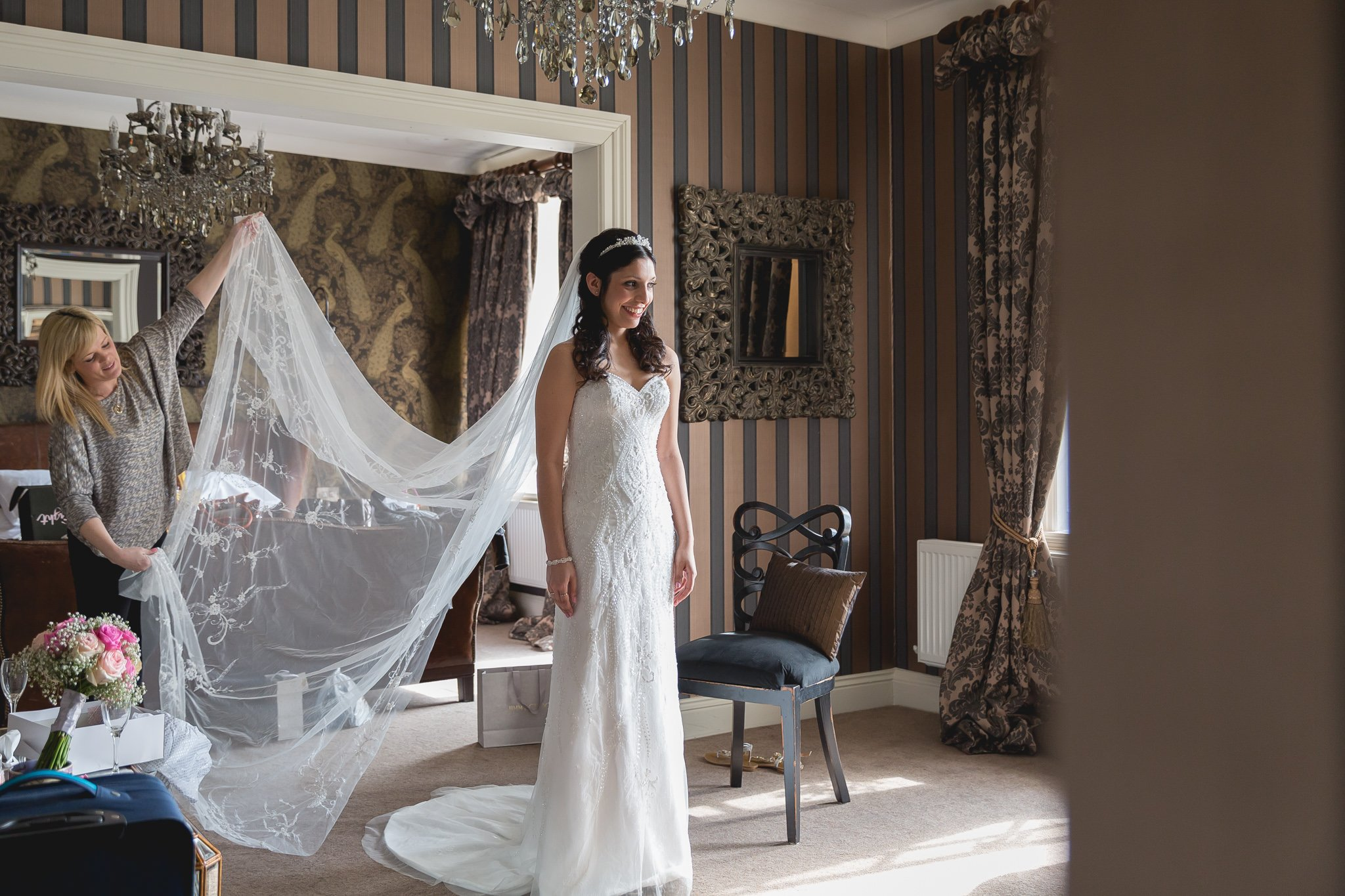 Bridal preparation at Eaves Hall