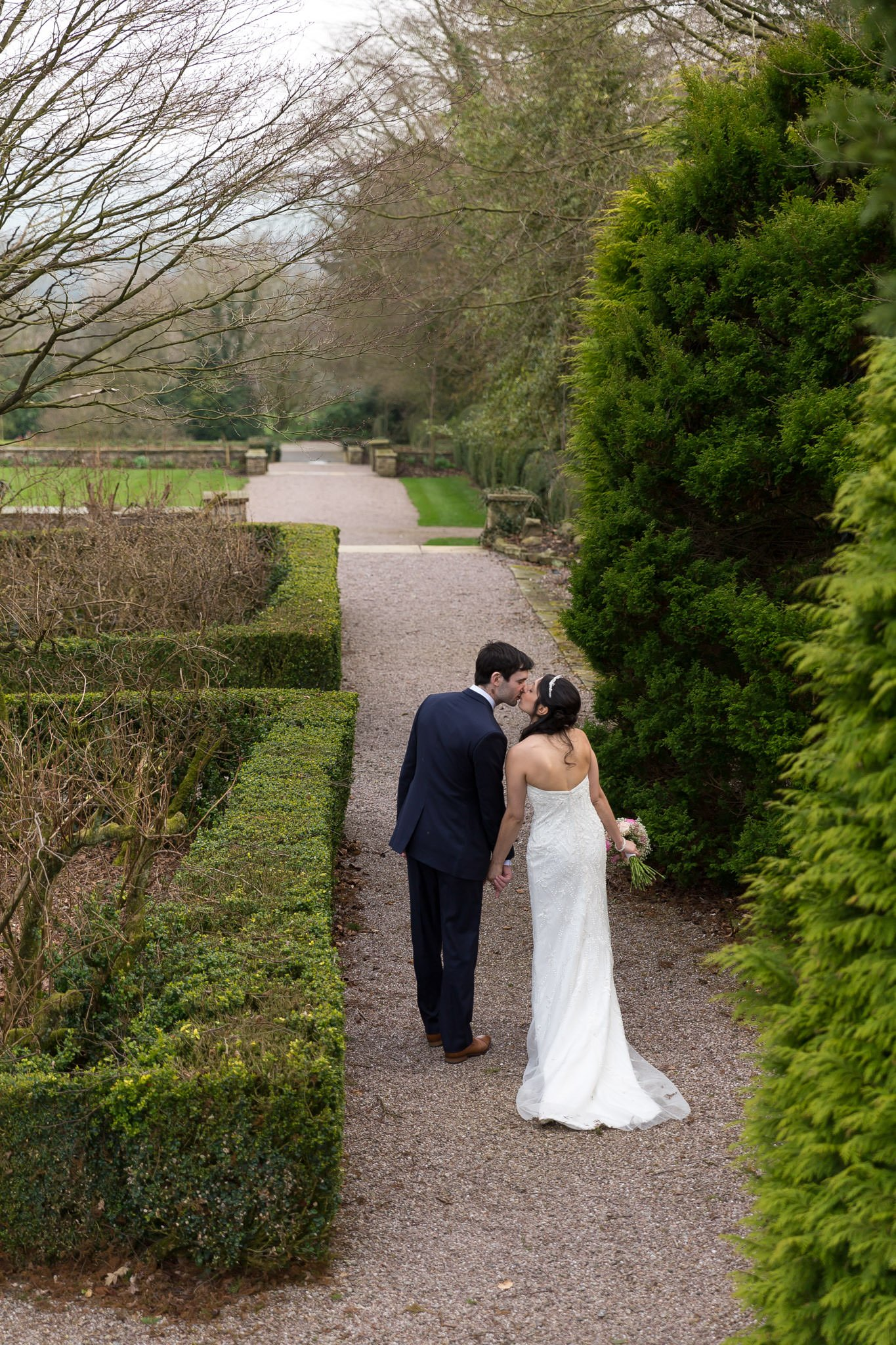 Wedding photos in Eaves Hall gardens