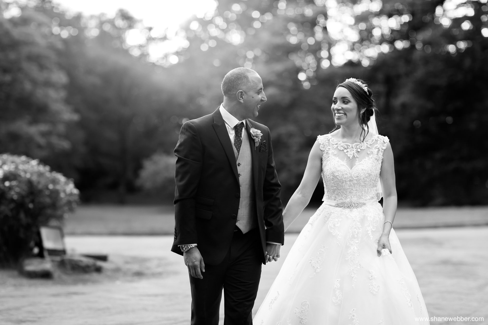Black and white wedding photo at Rivington Hall