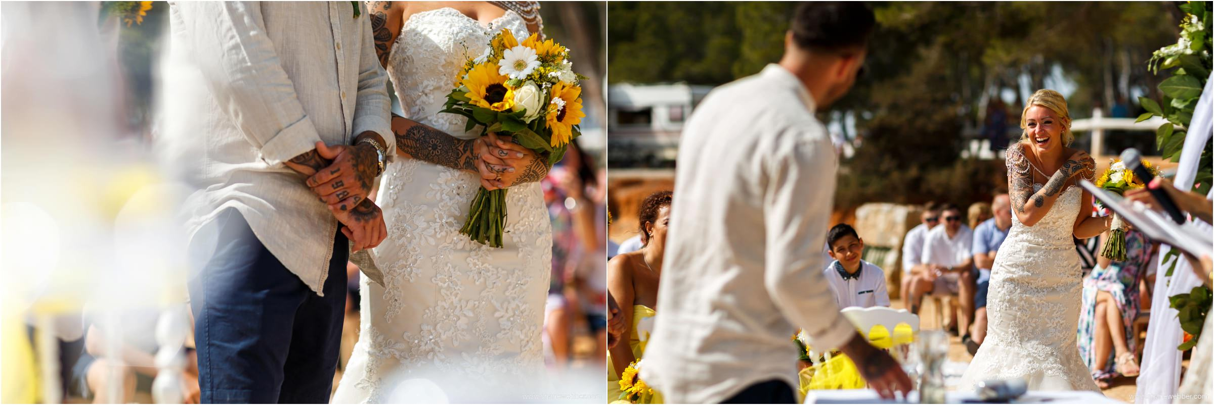 Sunflower bouquet at colourful summer wedding