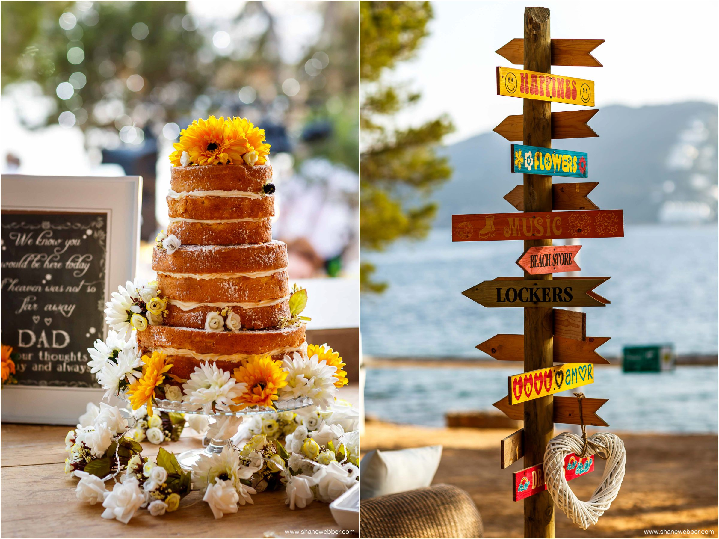 Naked wedding cake with sunflower decorations