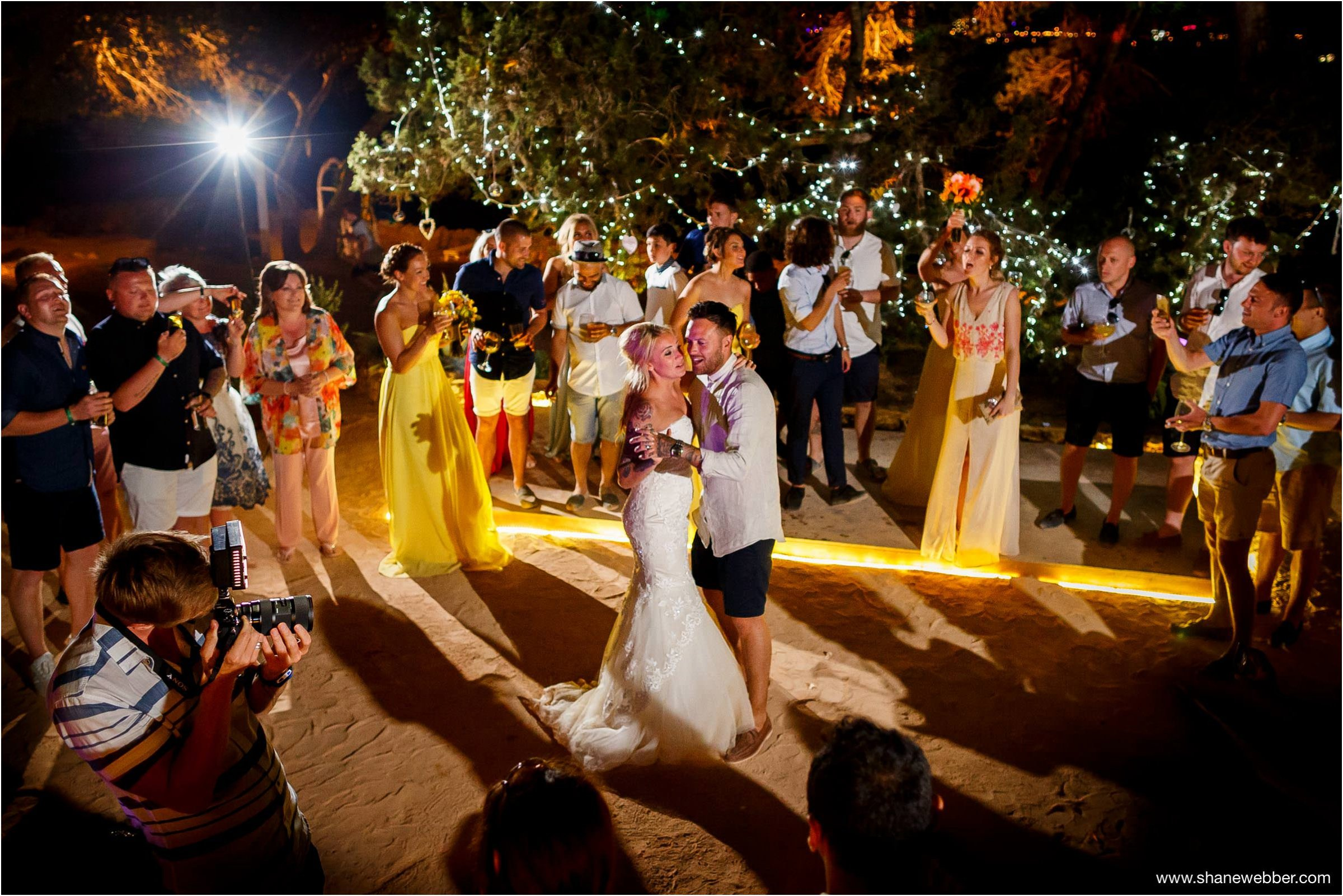 First dance on beach at Ses Savines Ibiza