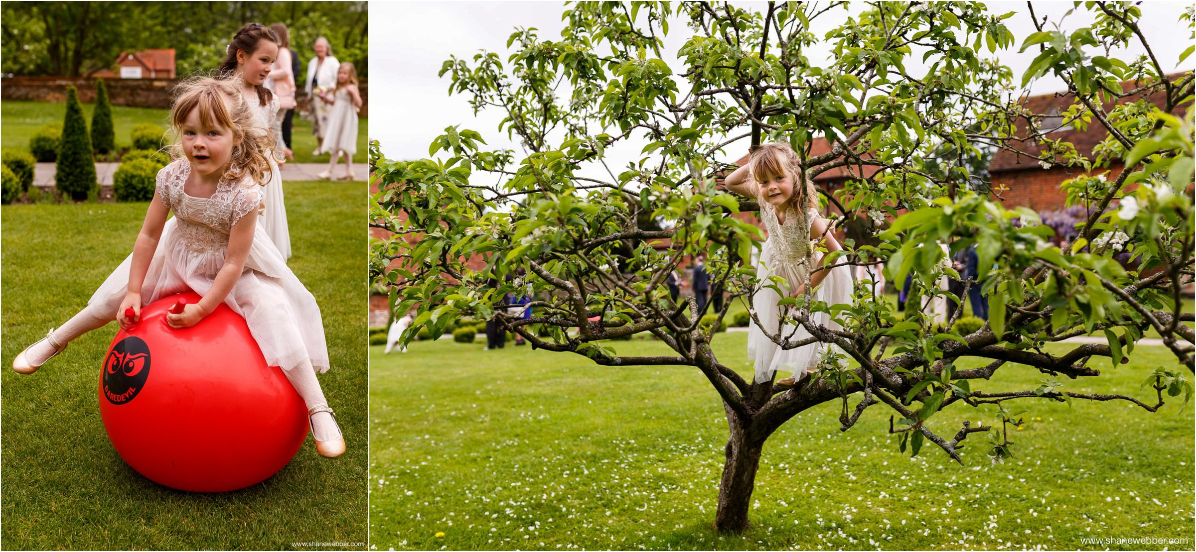 Kids playing at Ufton Court wedding