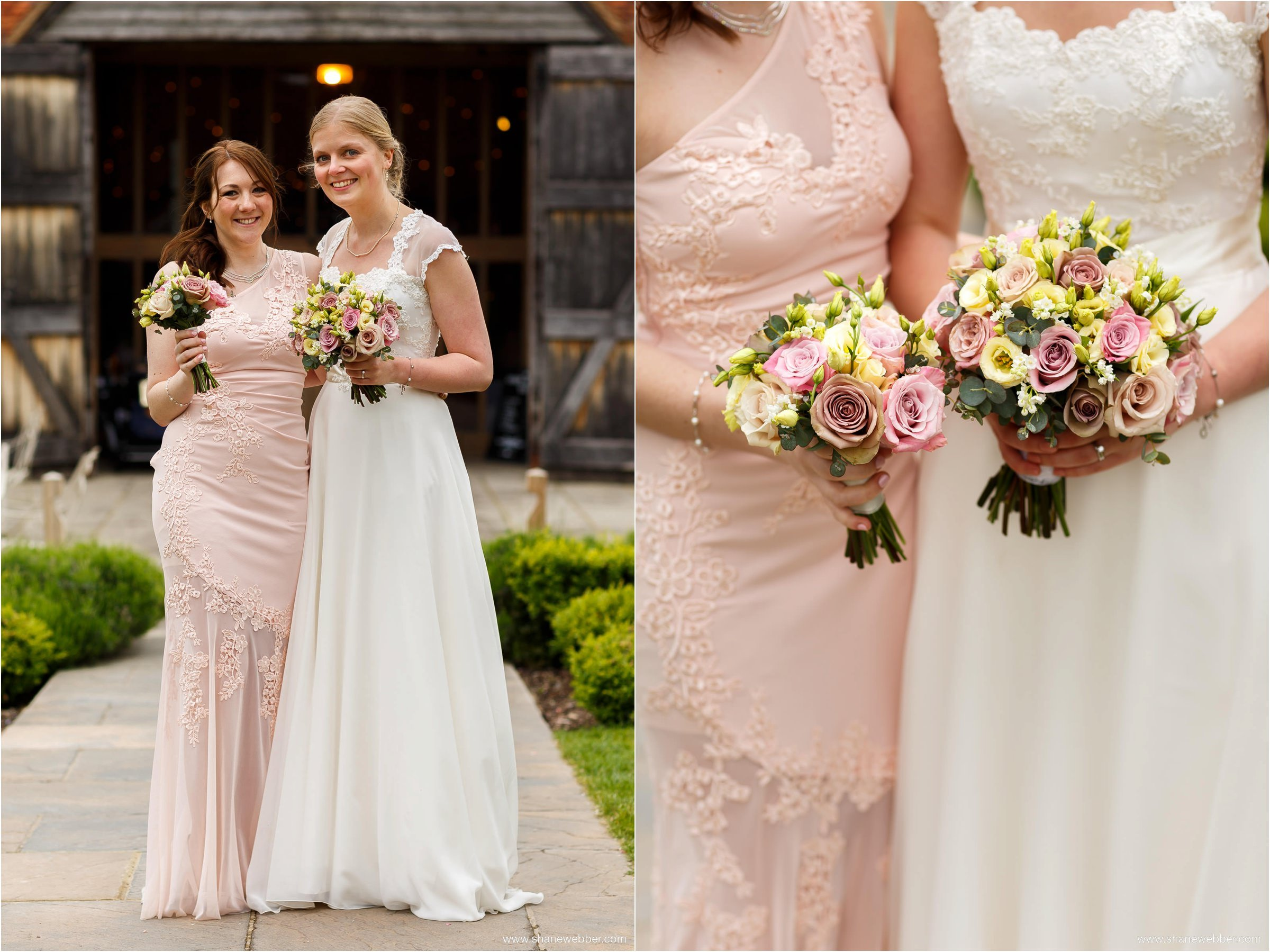 Bride and bridesmaid ay Ufton Court Barn Wedding