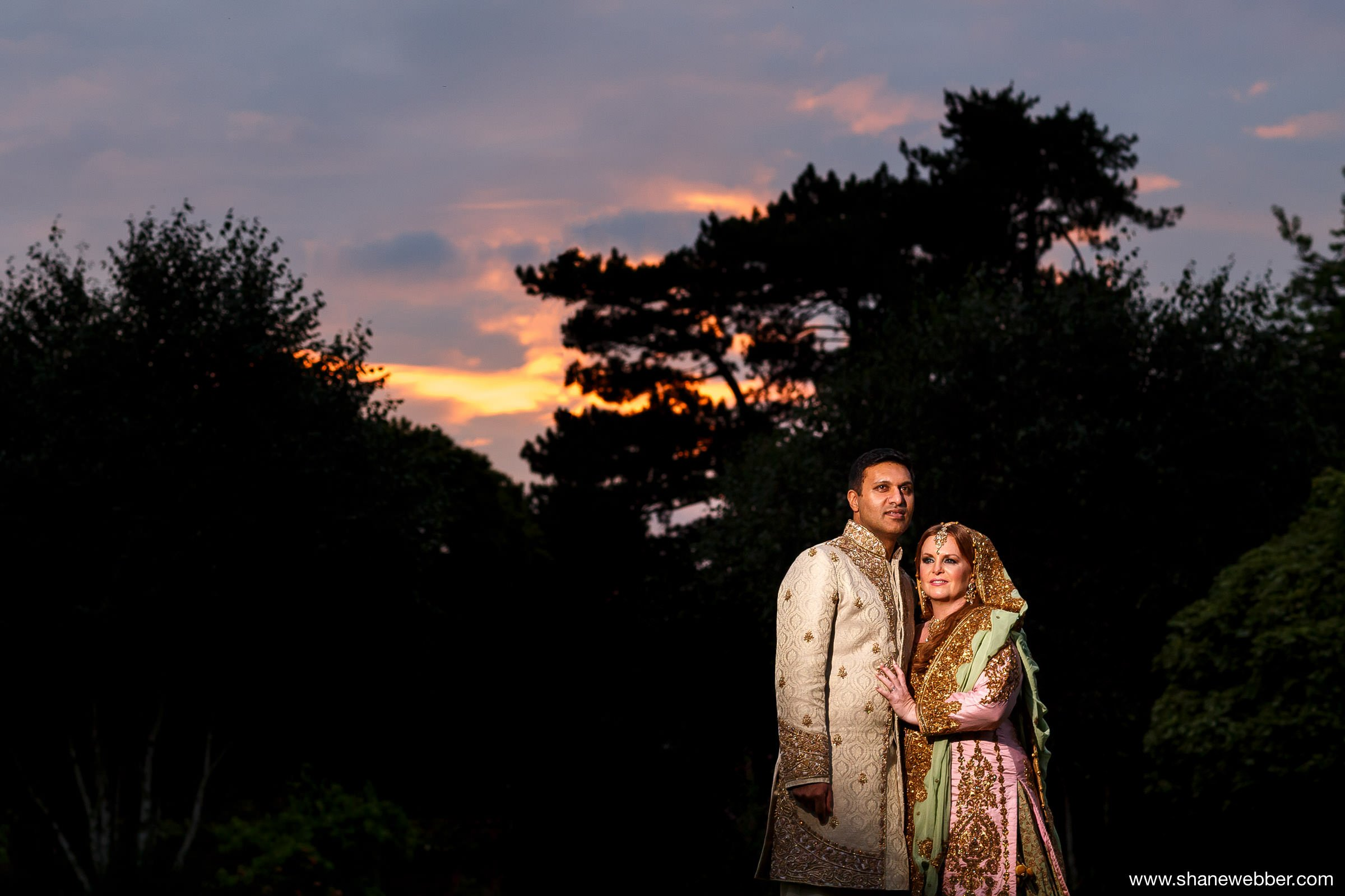 Sunset wedding photography at Capesthorne Hall