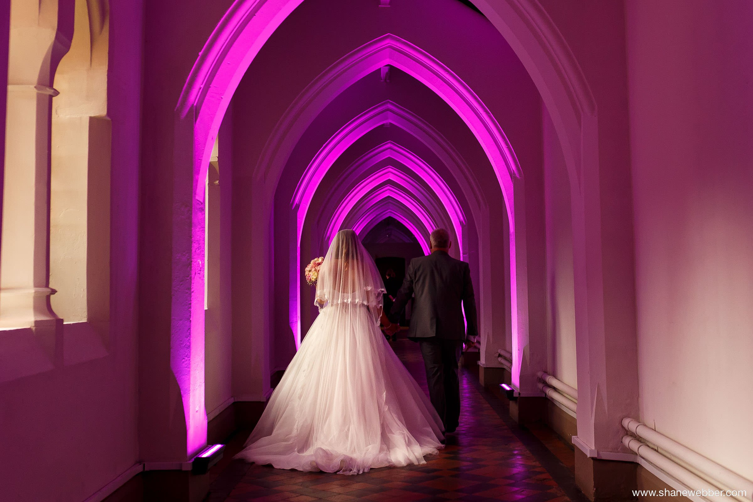 Purple corridor at Gorton Monastery Manchester