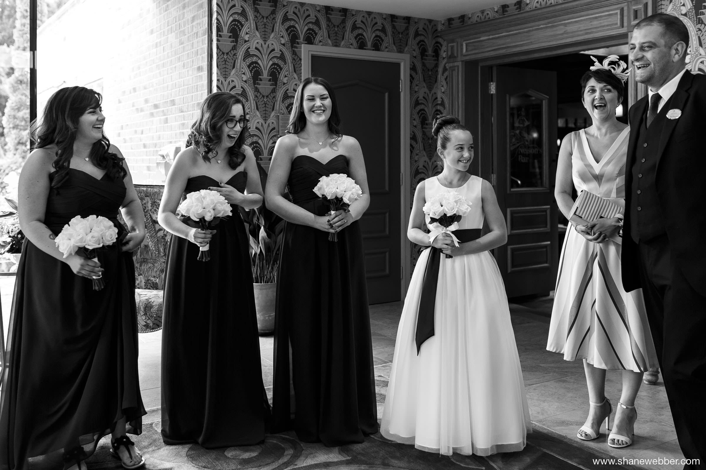Natural wedding photo of bridesmaids