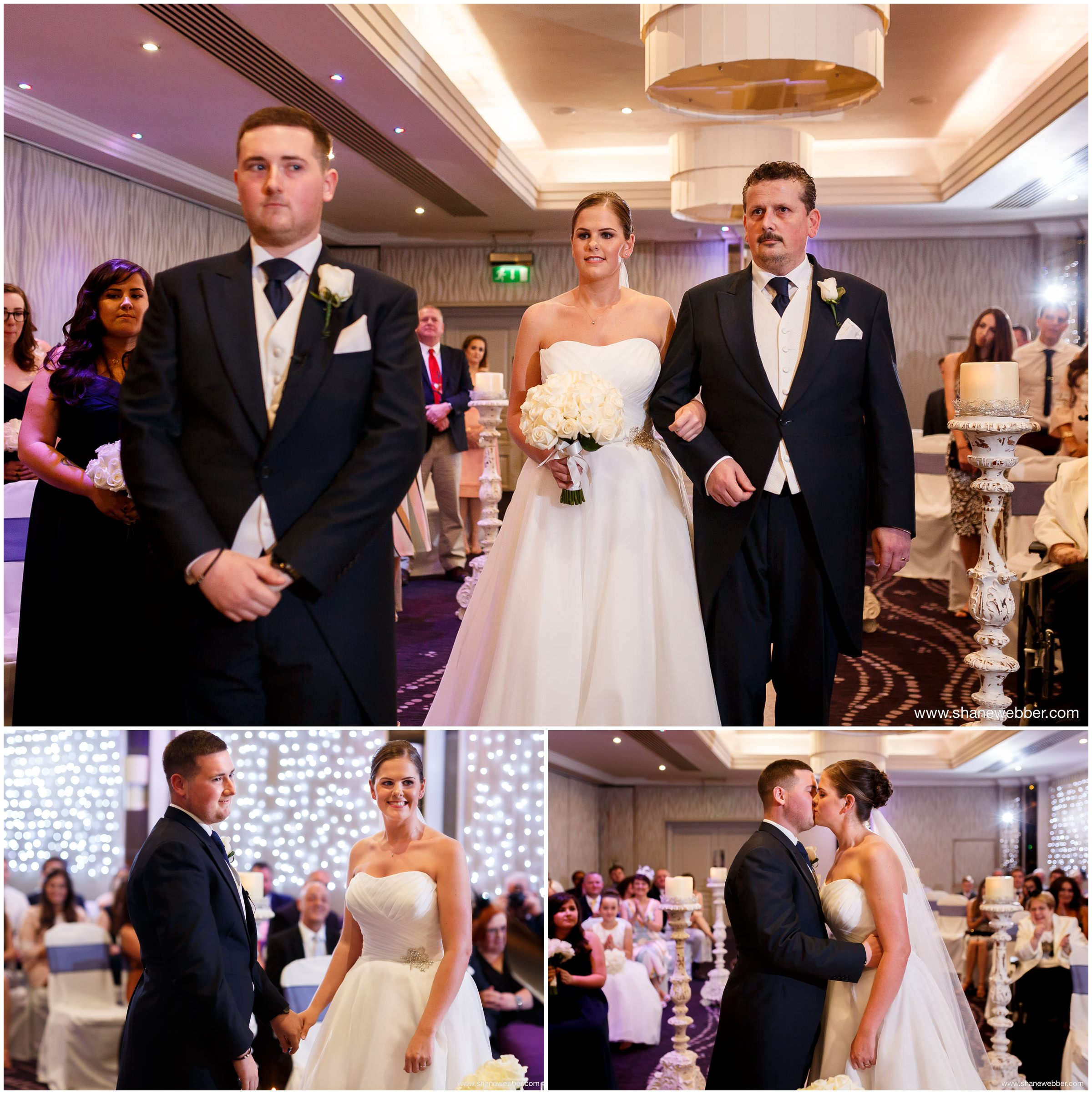 Bride walking down the aisle with Dad at the Grosvenor Pulford Hotel Chester