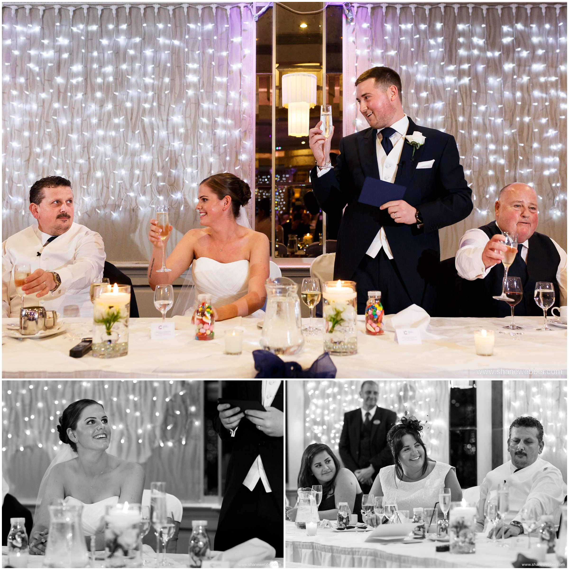 Wedding speeches at the Grosvenor Hotel in Pulford