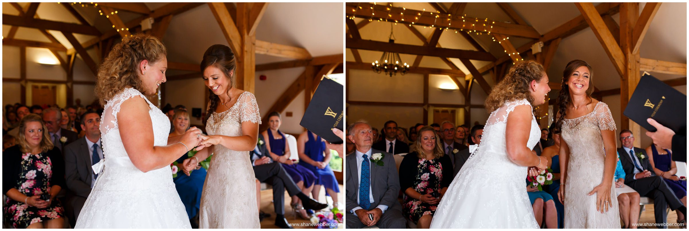 Wedding ceremony at Sandhole Oak Barn
