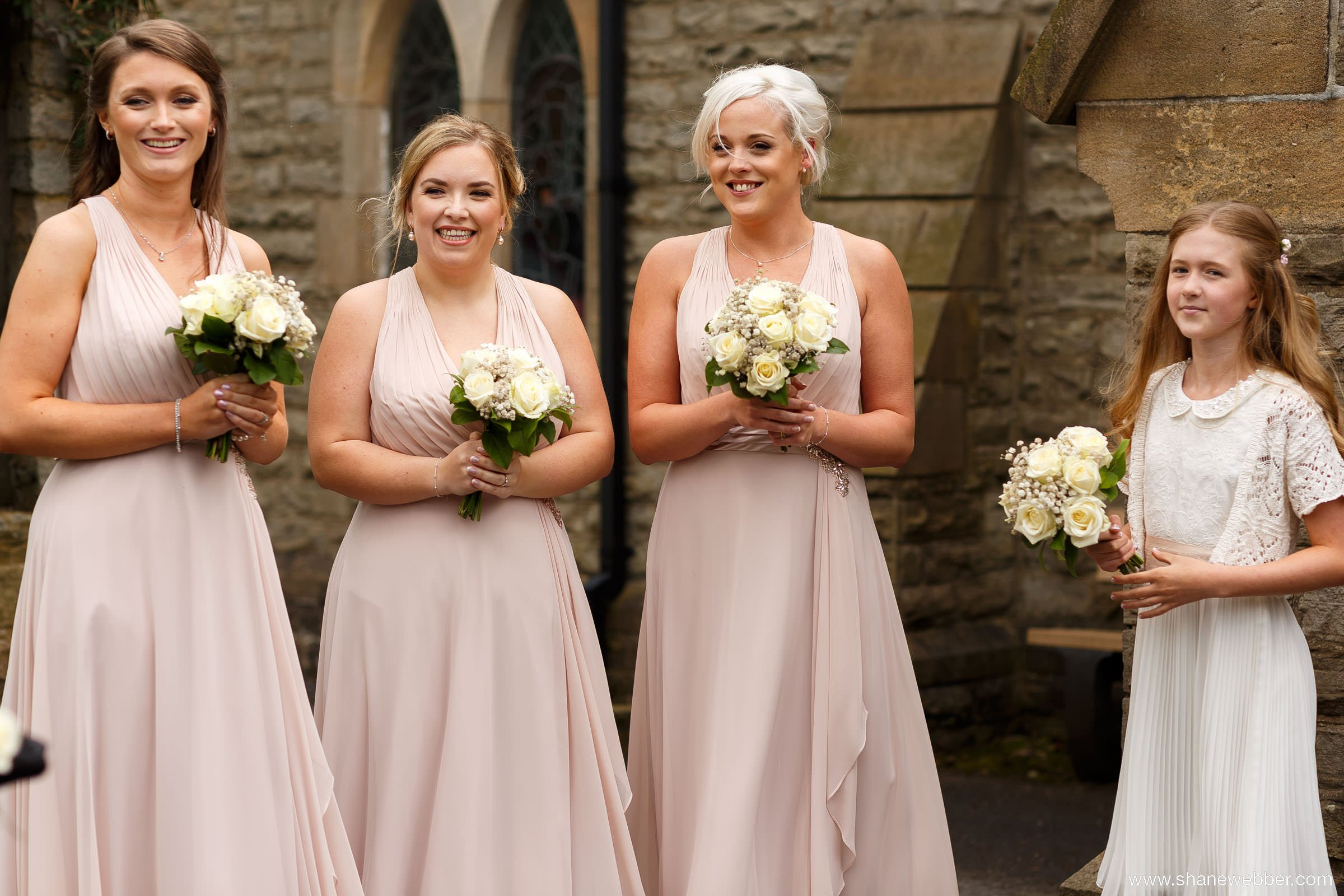 Nude pink bridesmaids dresses