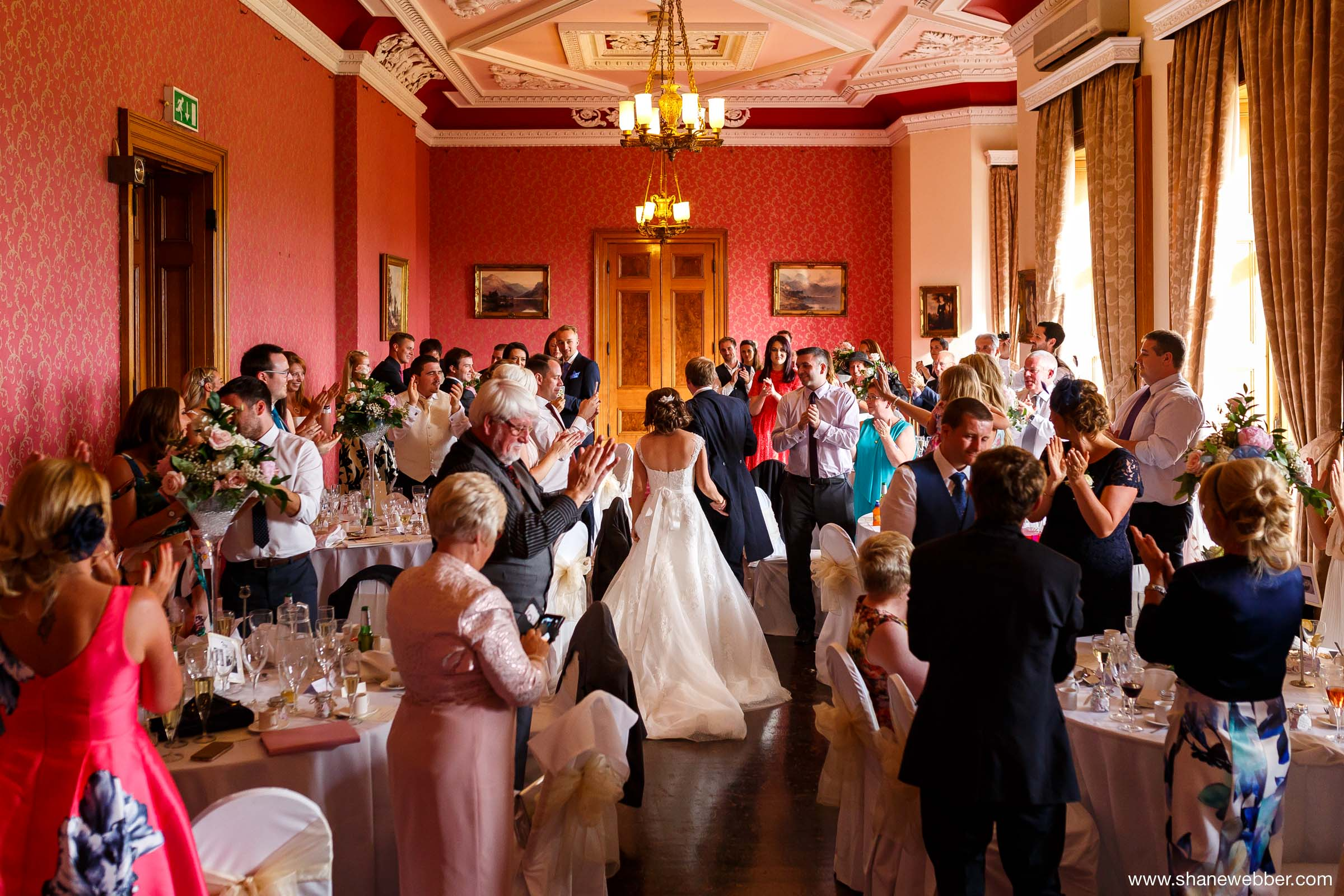 Bride and groom announced into Haigh Hall reception