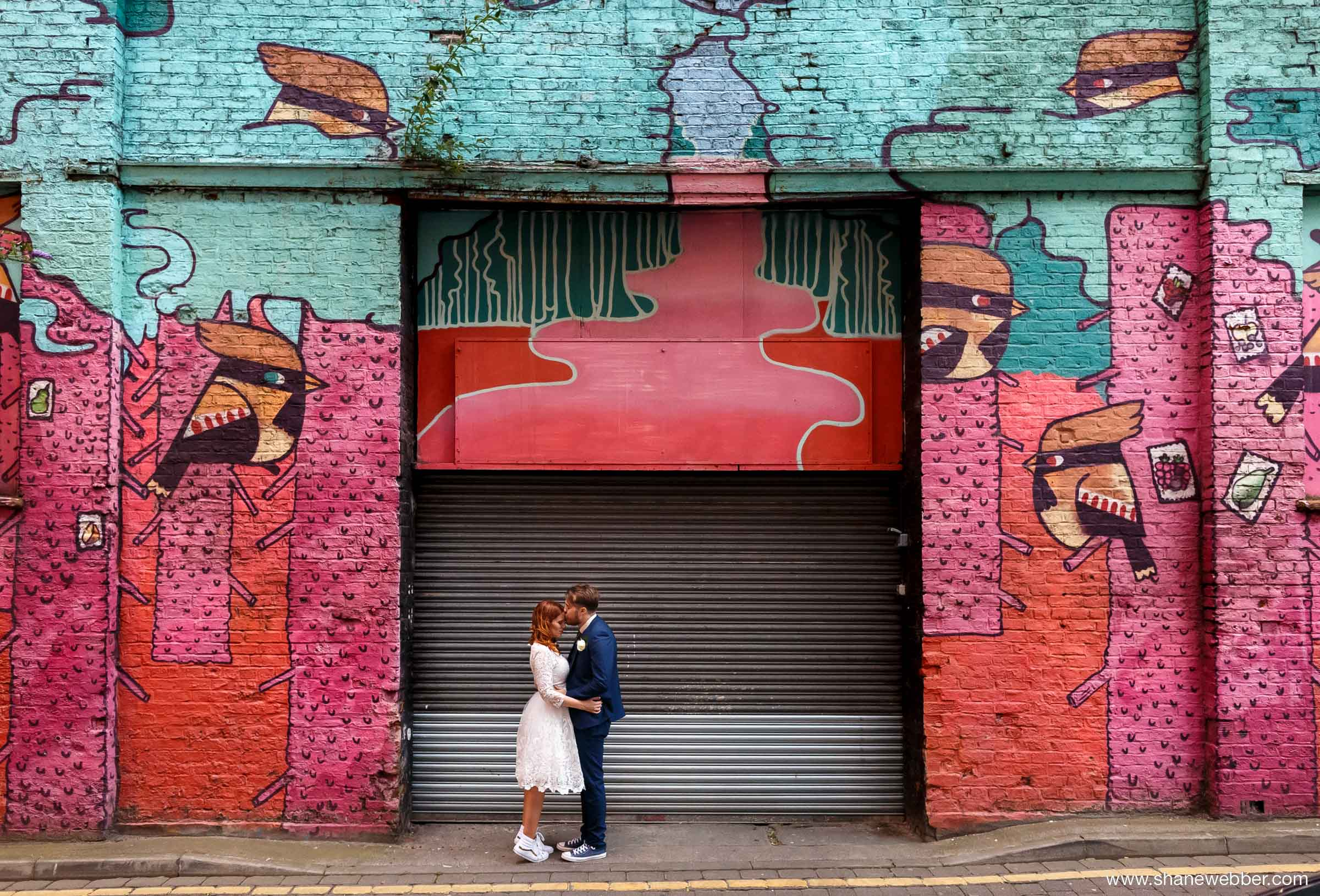 Urban graffiti wedding photos