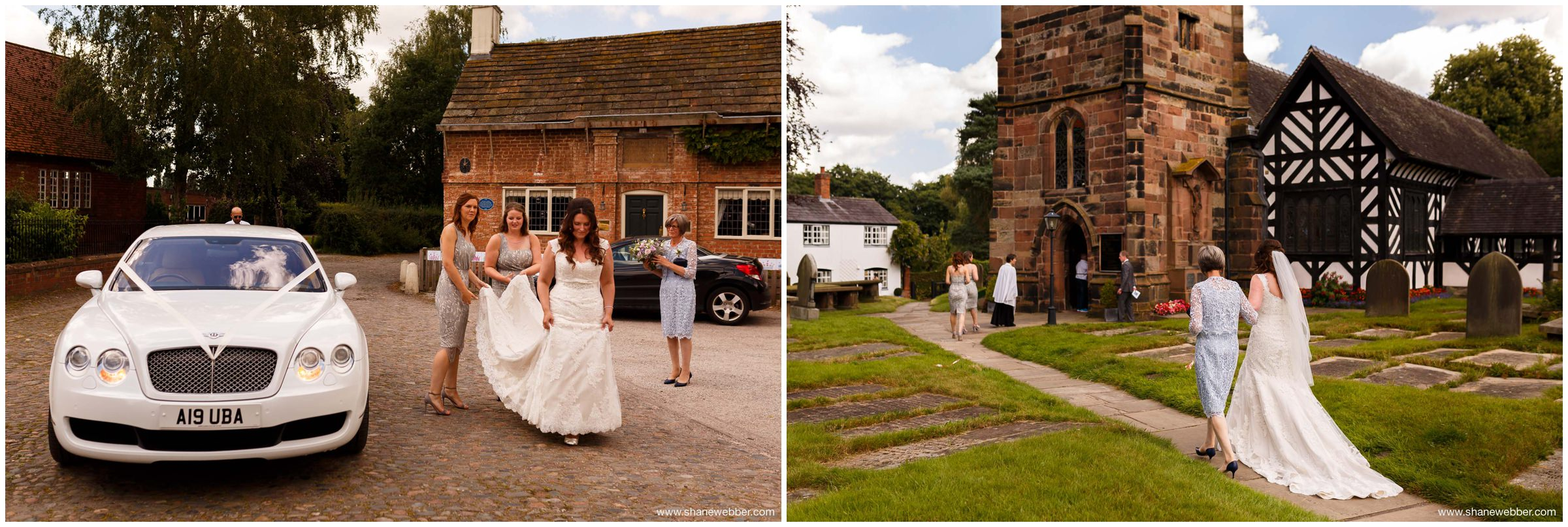 Bride walking to Church on wedding day