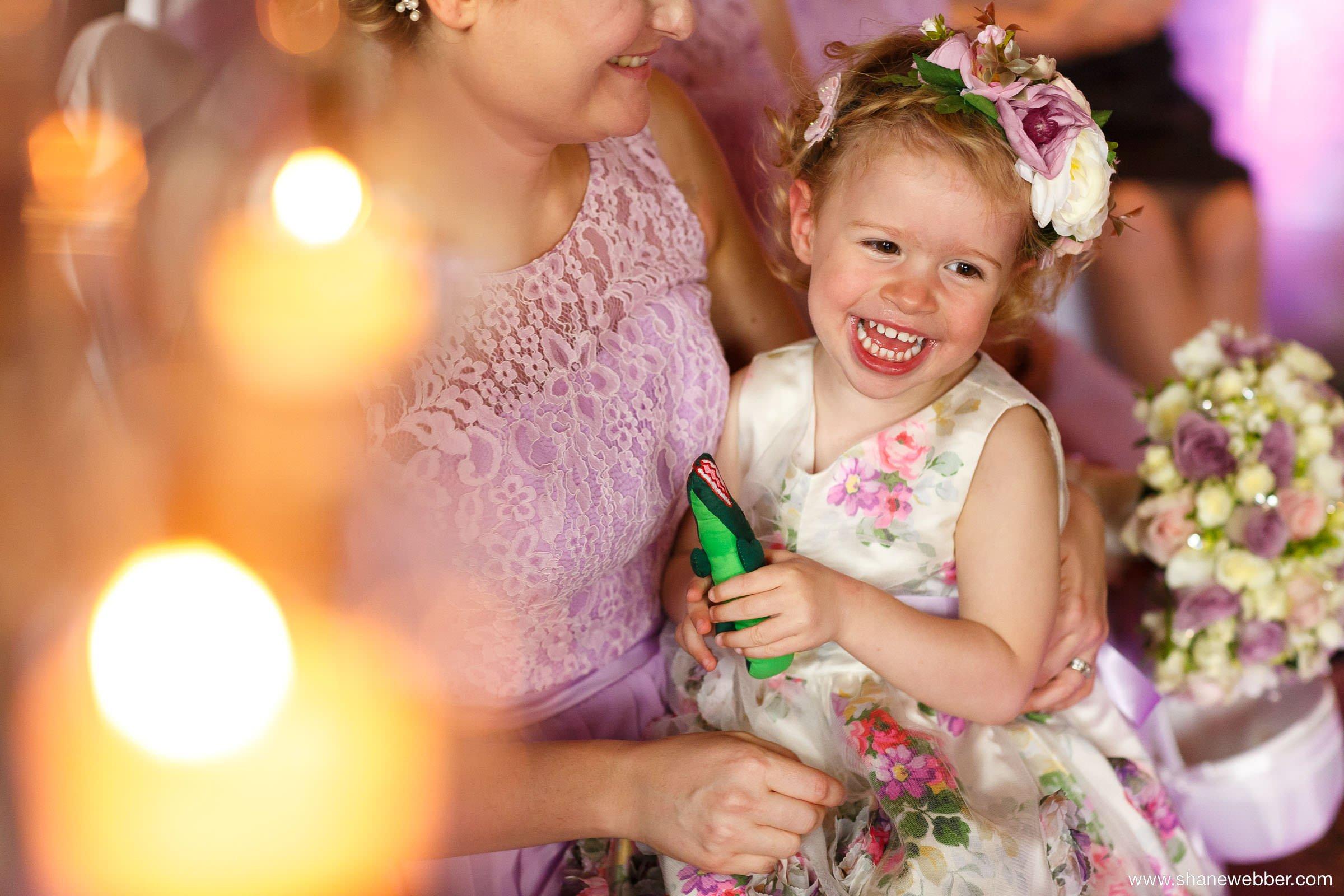 Laughing child at wedding