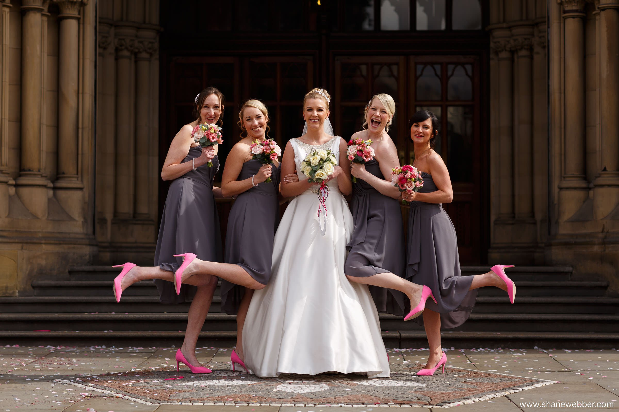 Pink bridesmaid wedding shoes