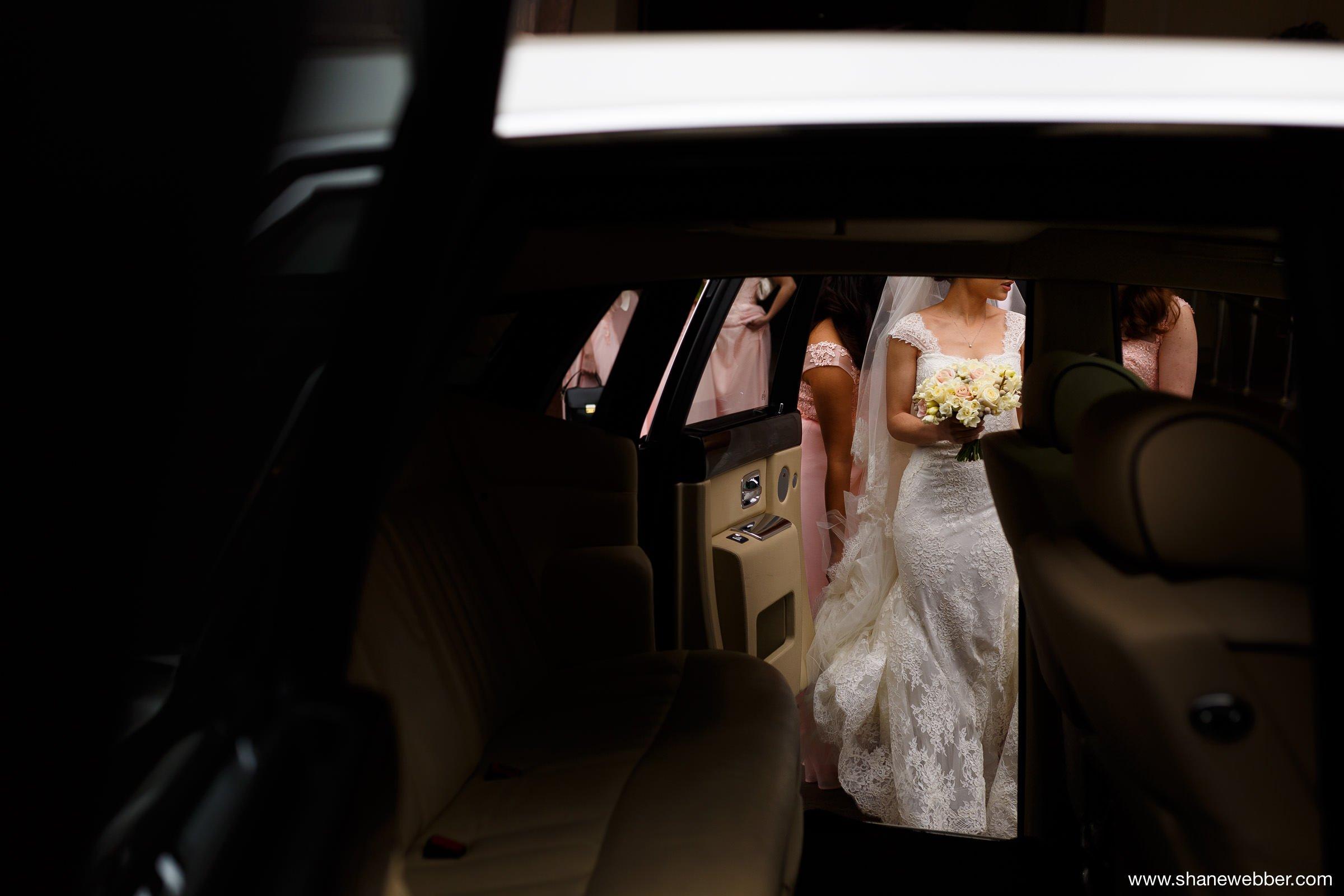 Getting into wedding car