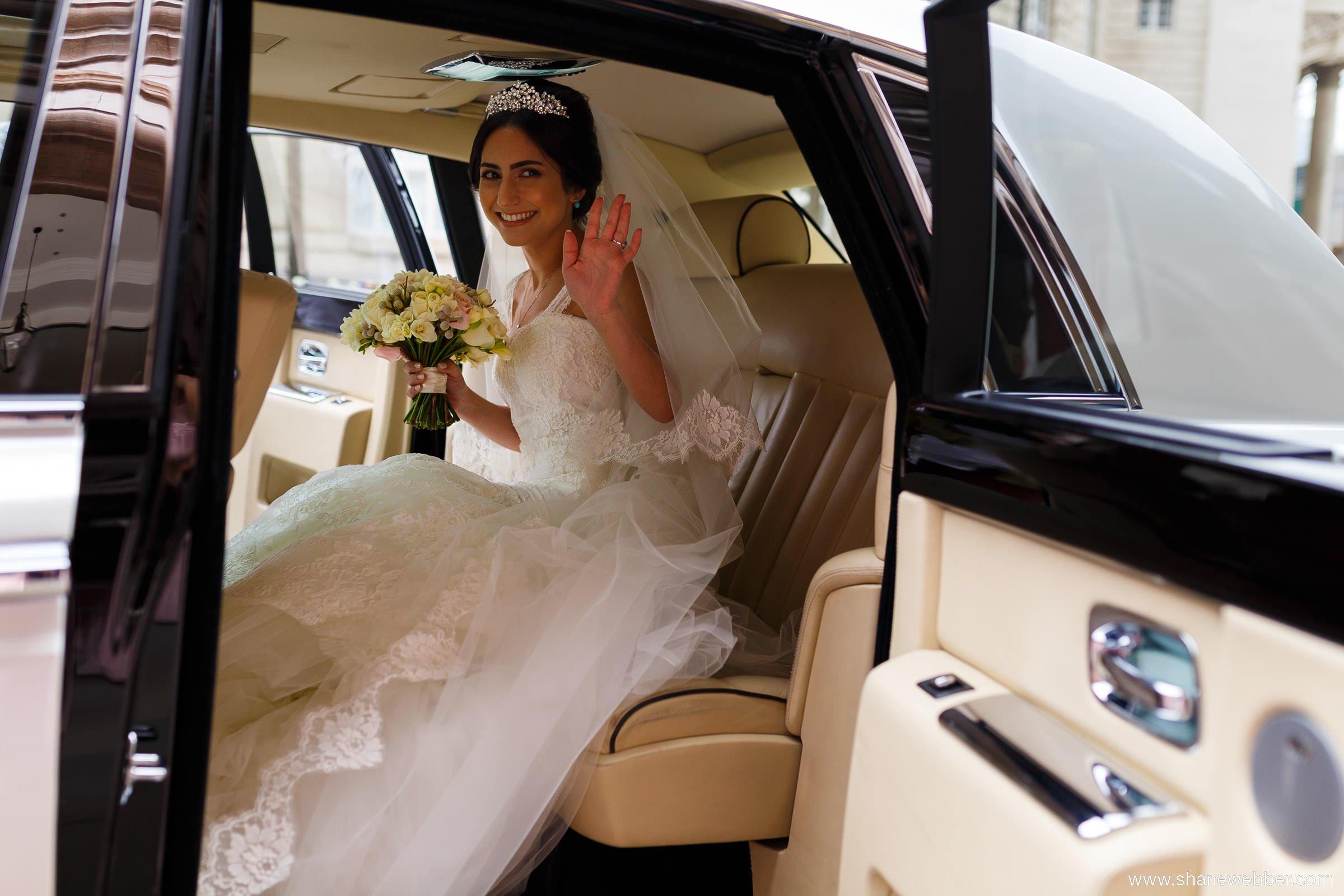 Inside wedding car