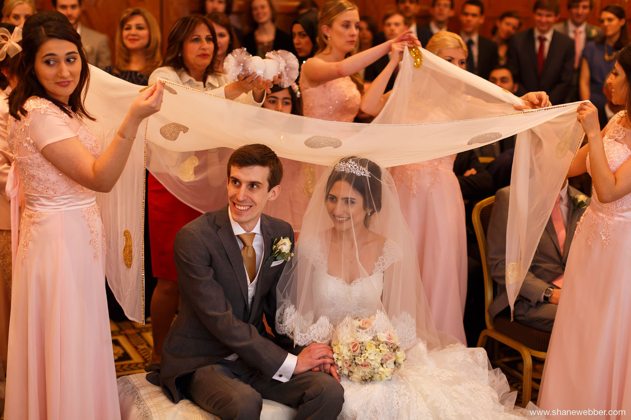 Bride and groom with Sofreh Aghd