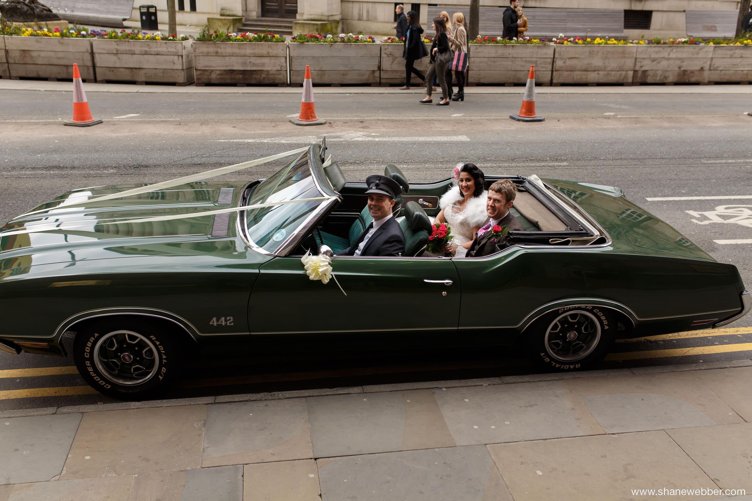 Green vintage wedding car