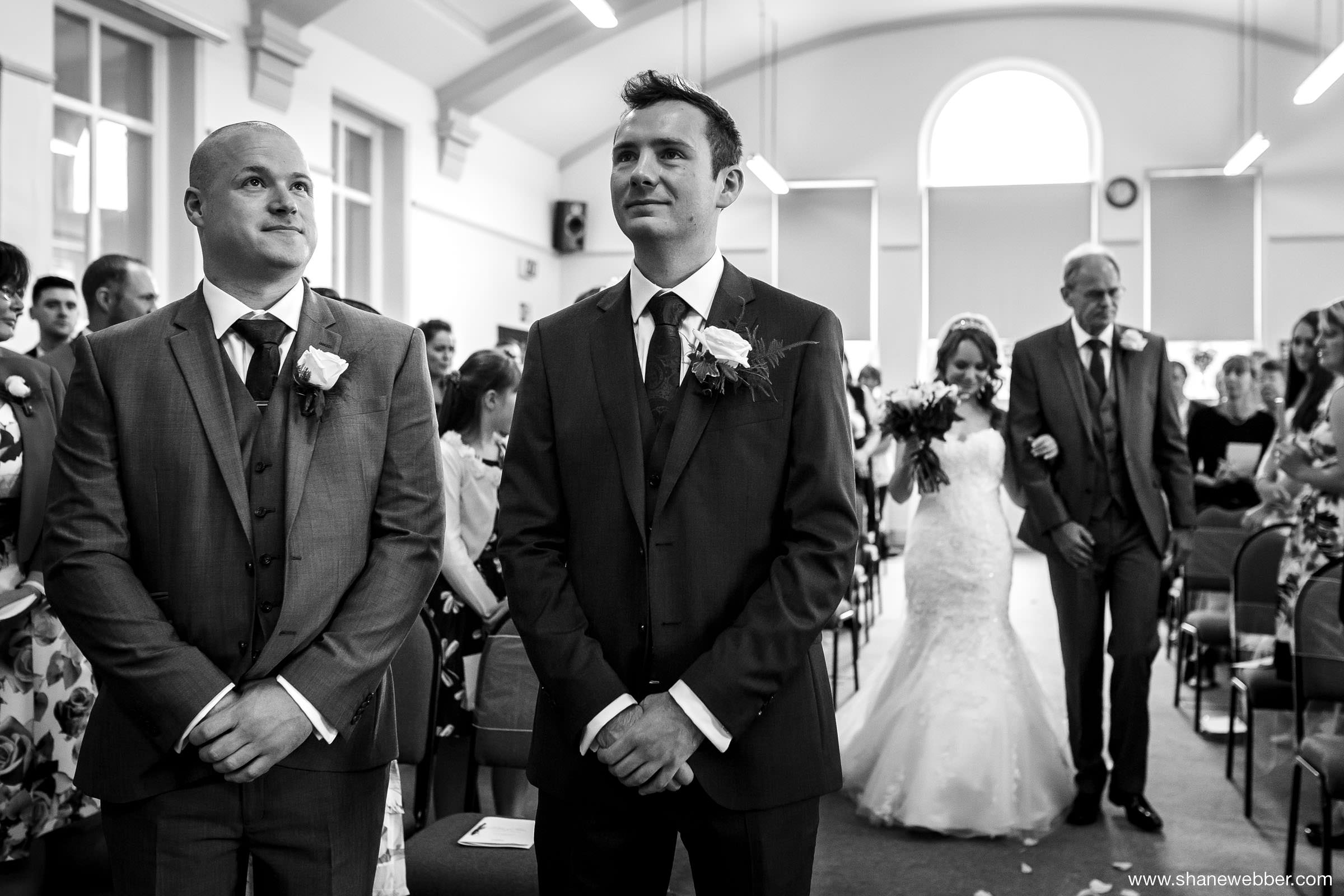 Nervous groom wedding photography