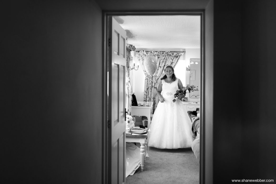 Black and white photograph of bride