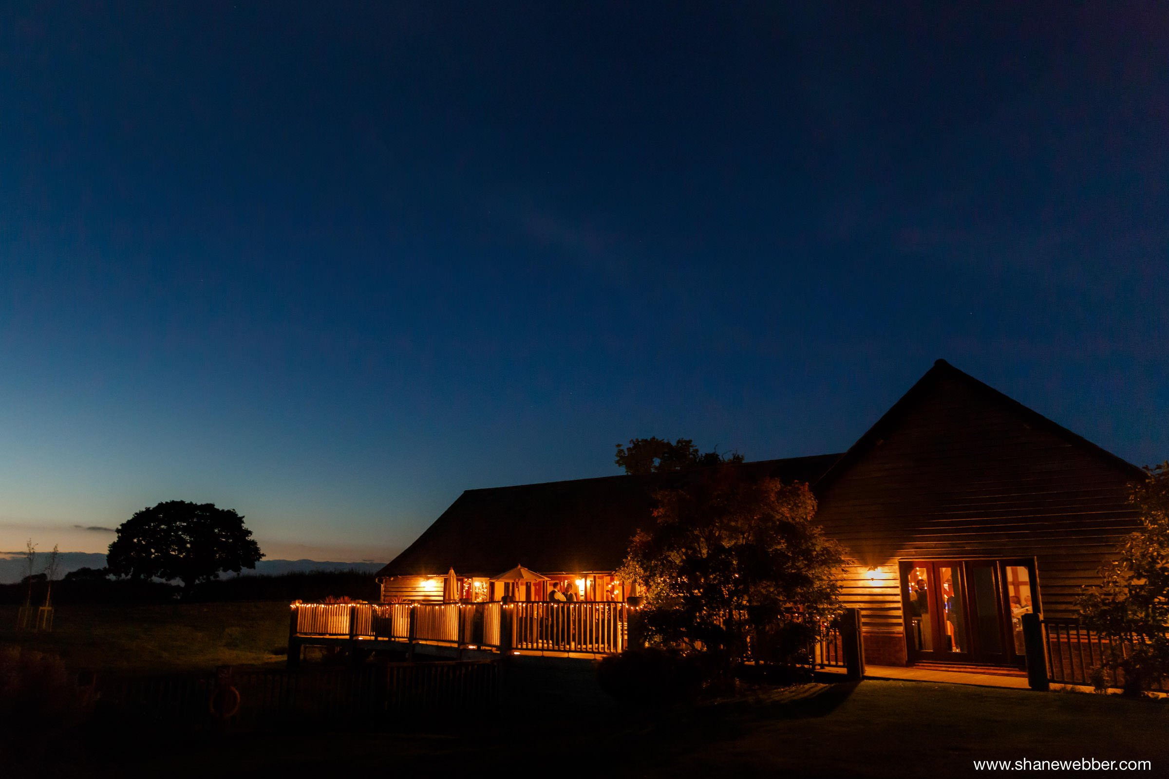 night time Sandhole oak barn