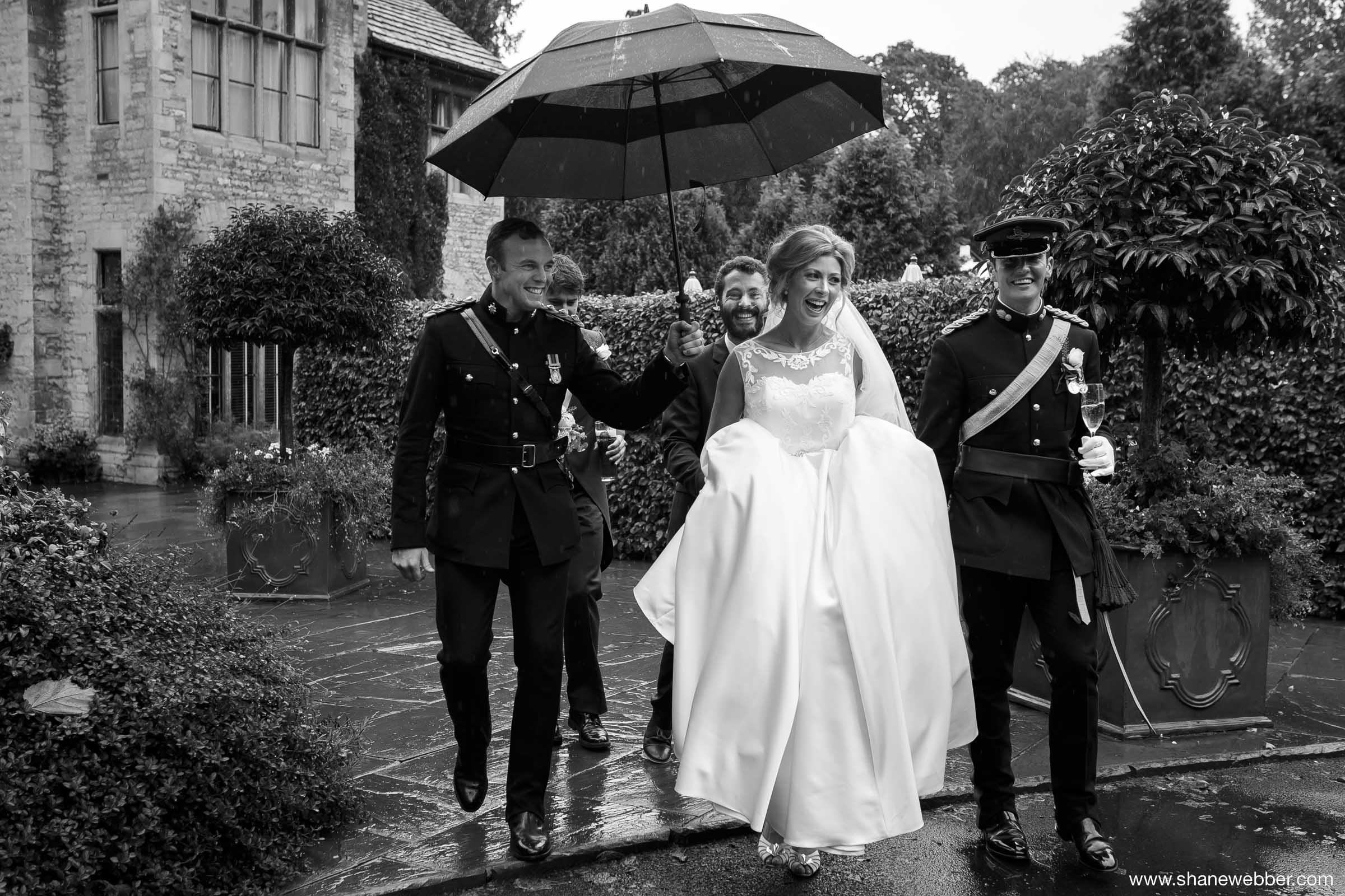 Bride in the rain