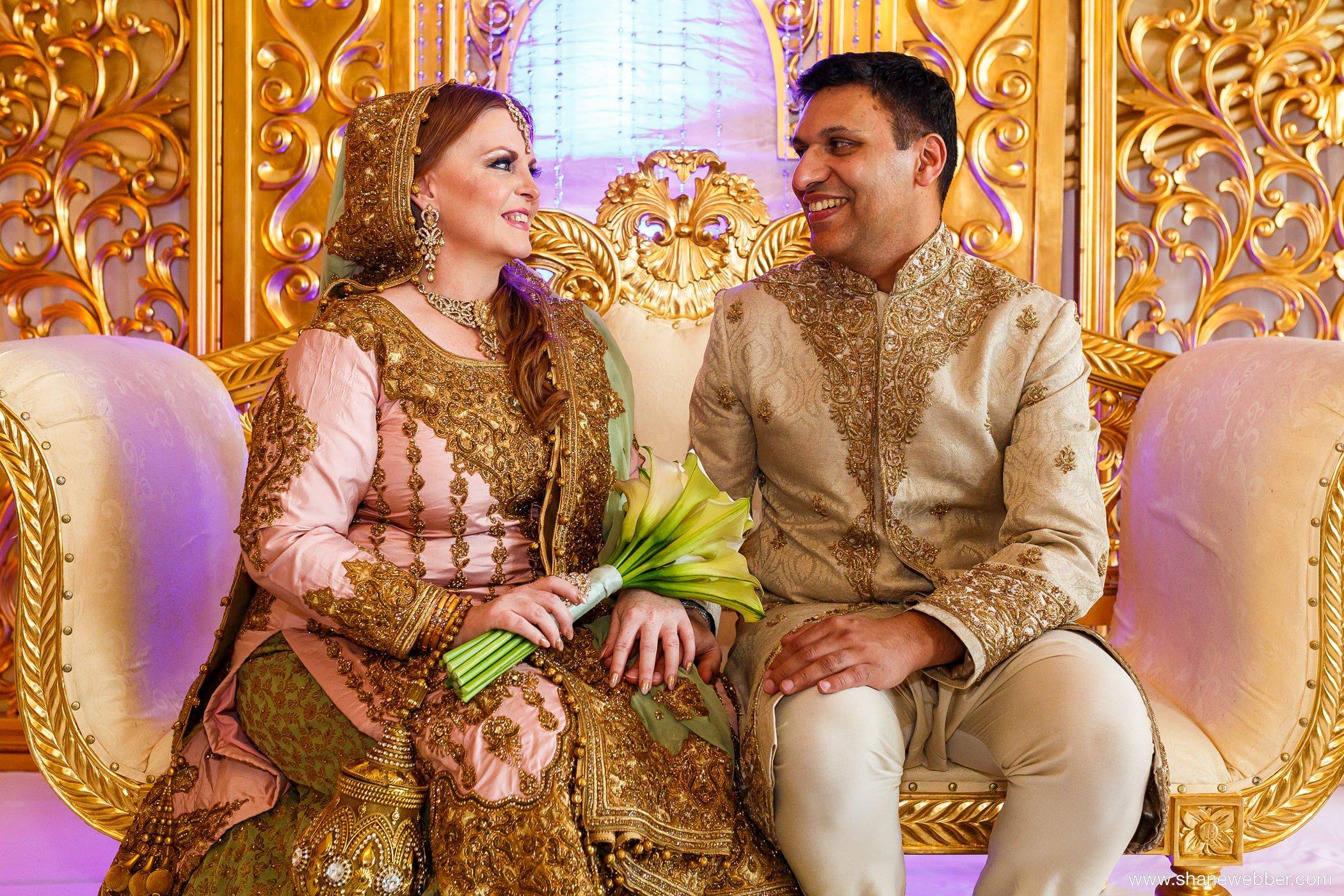 Asian throne wedding photo