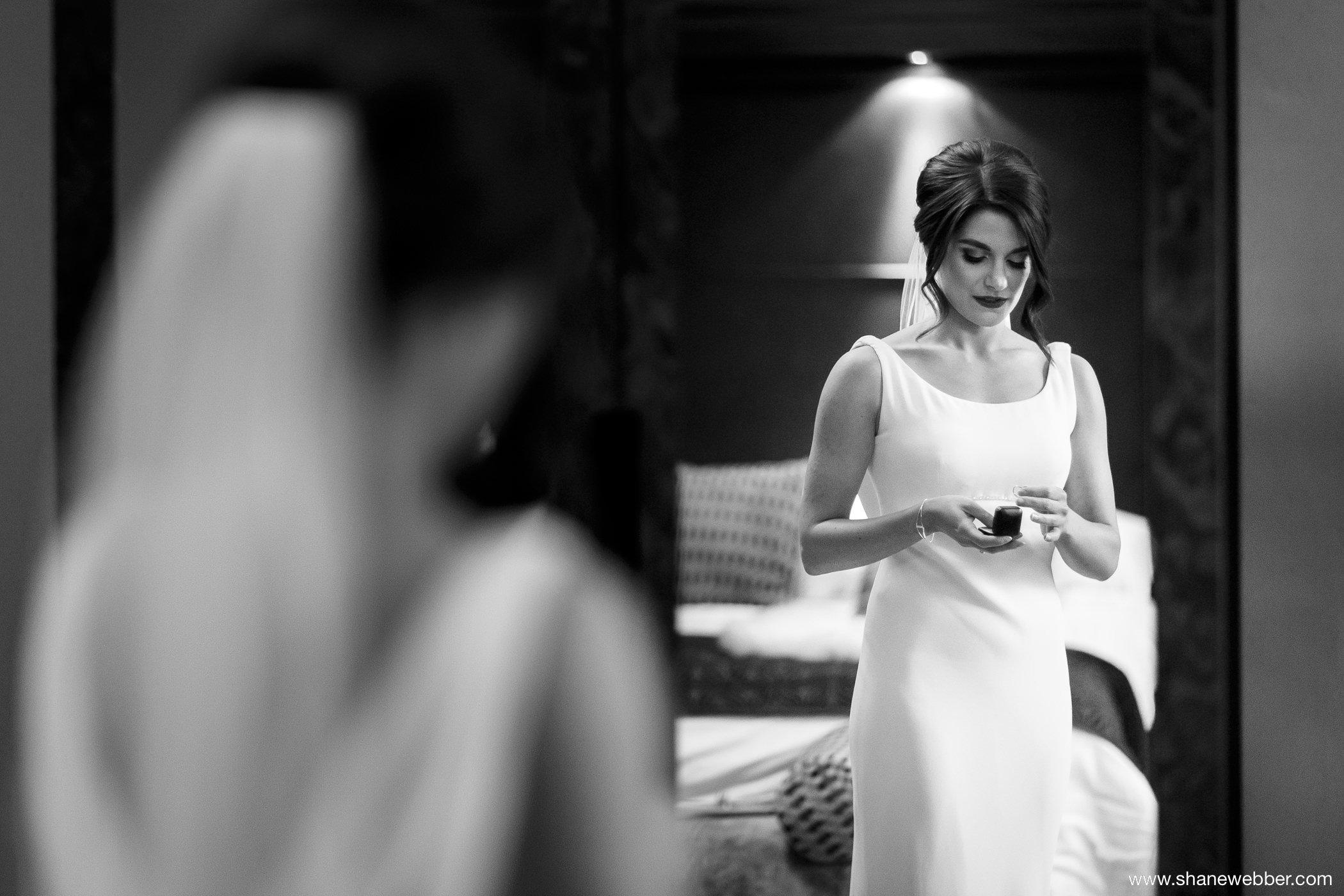 Black and white portrait of the bride