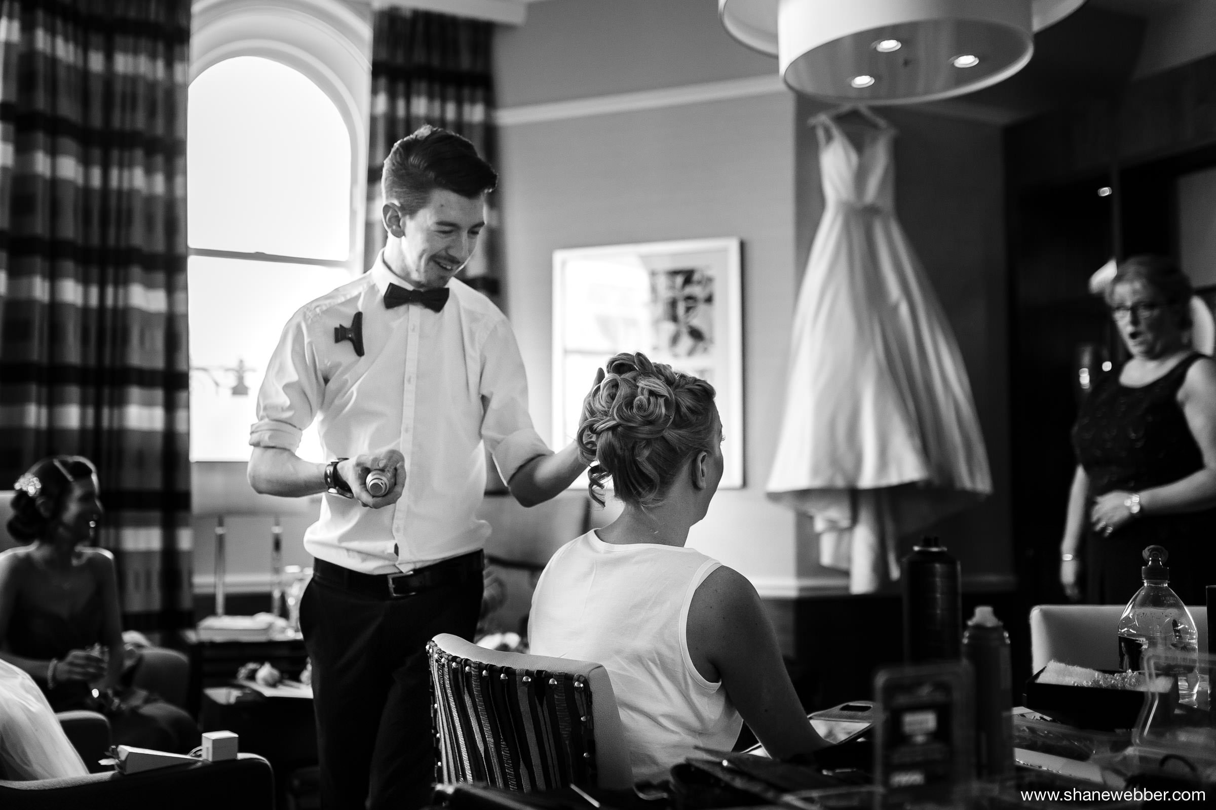 Black and white bridal prep photo