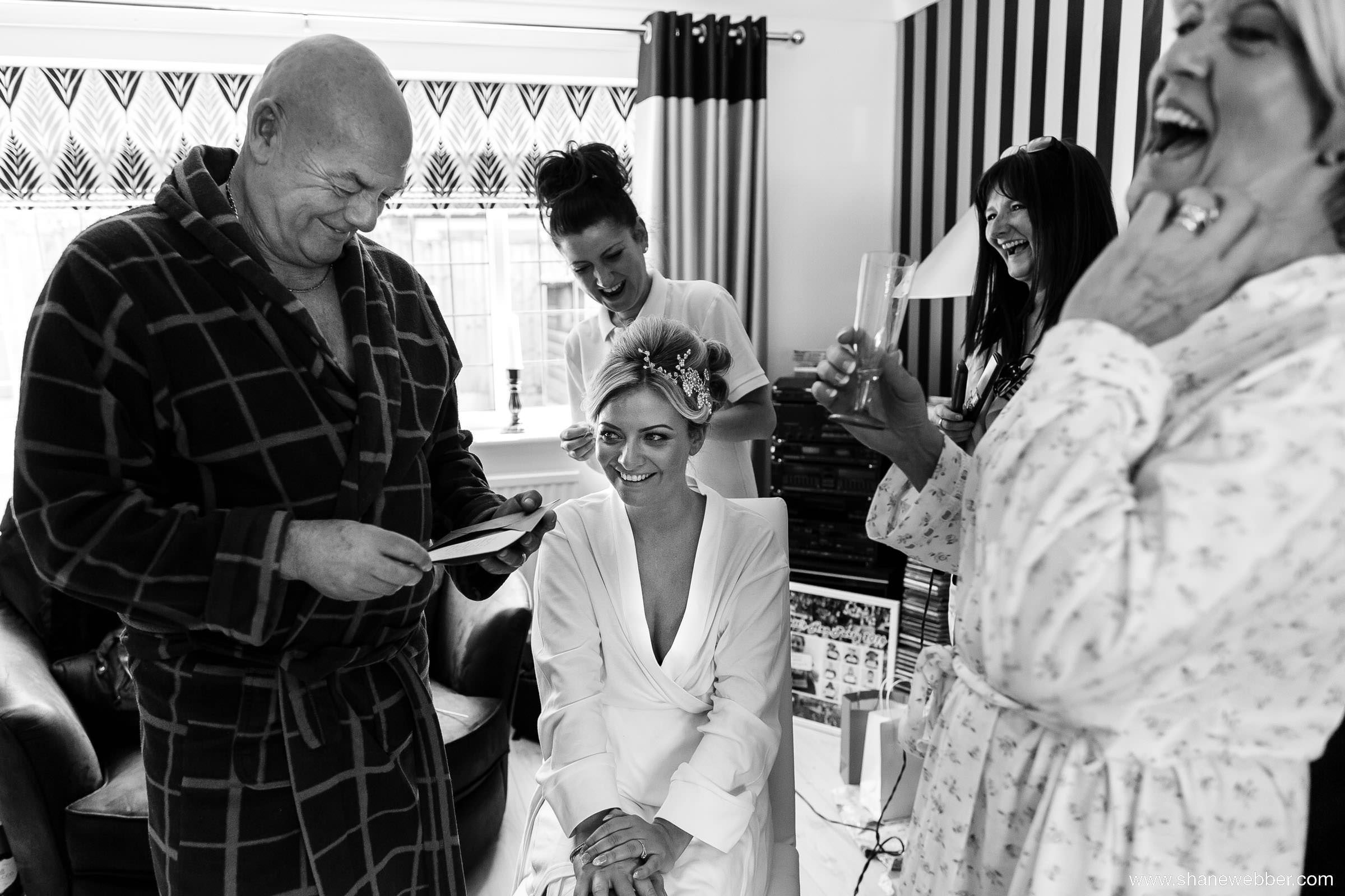 Black and white bridal preparation photo