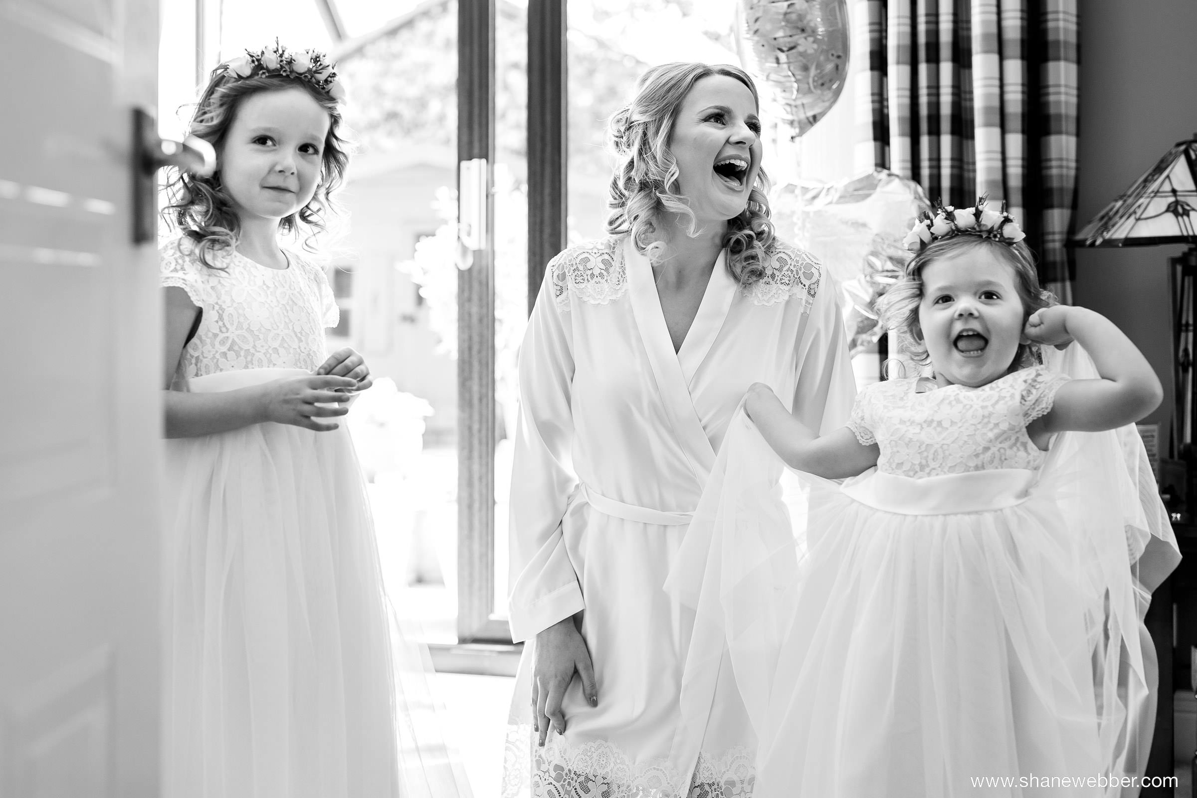 flower girls at bridal preparation