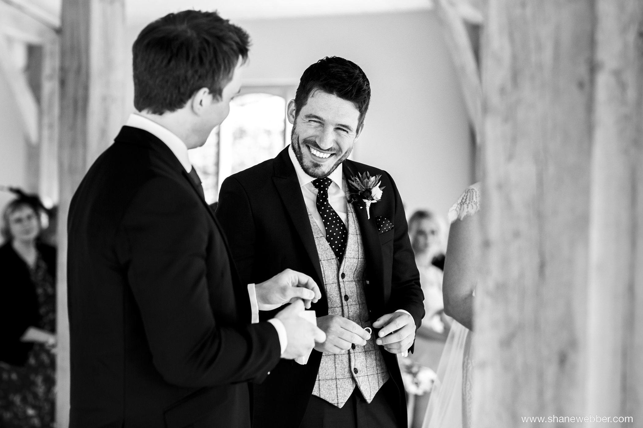 wedding ceremony black and white photo