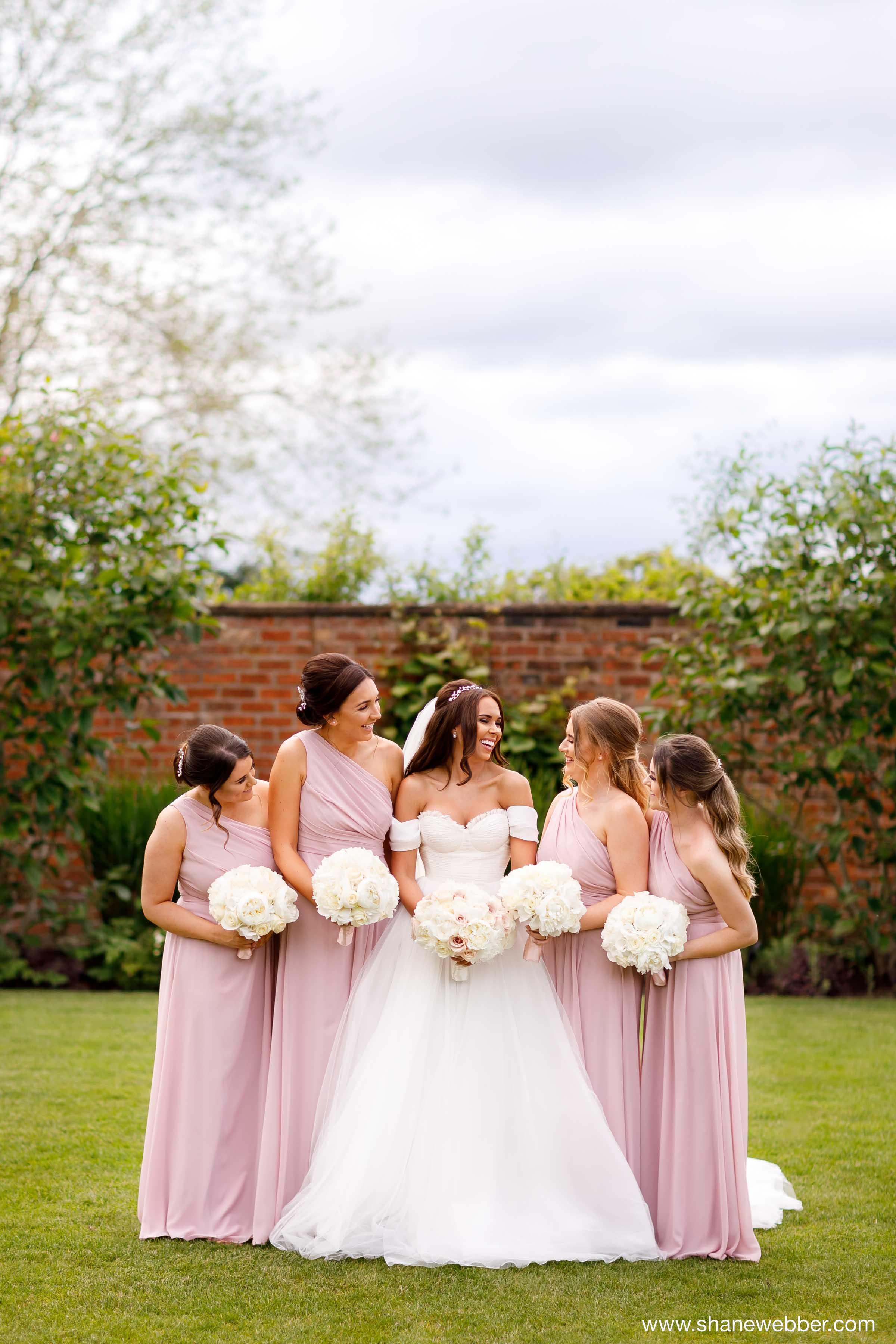 Bridesmaids portrait Colshaw Hall gardens