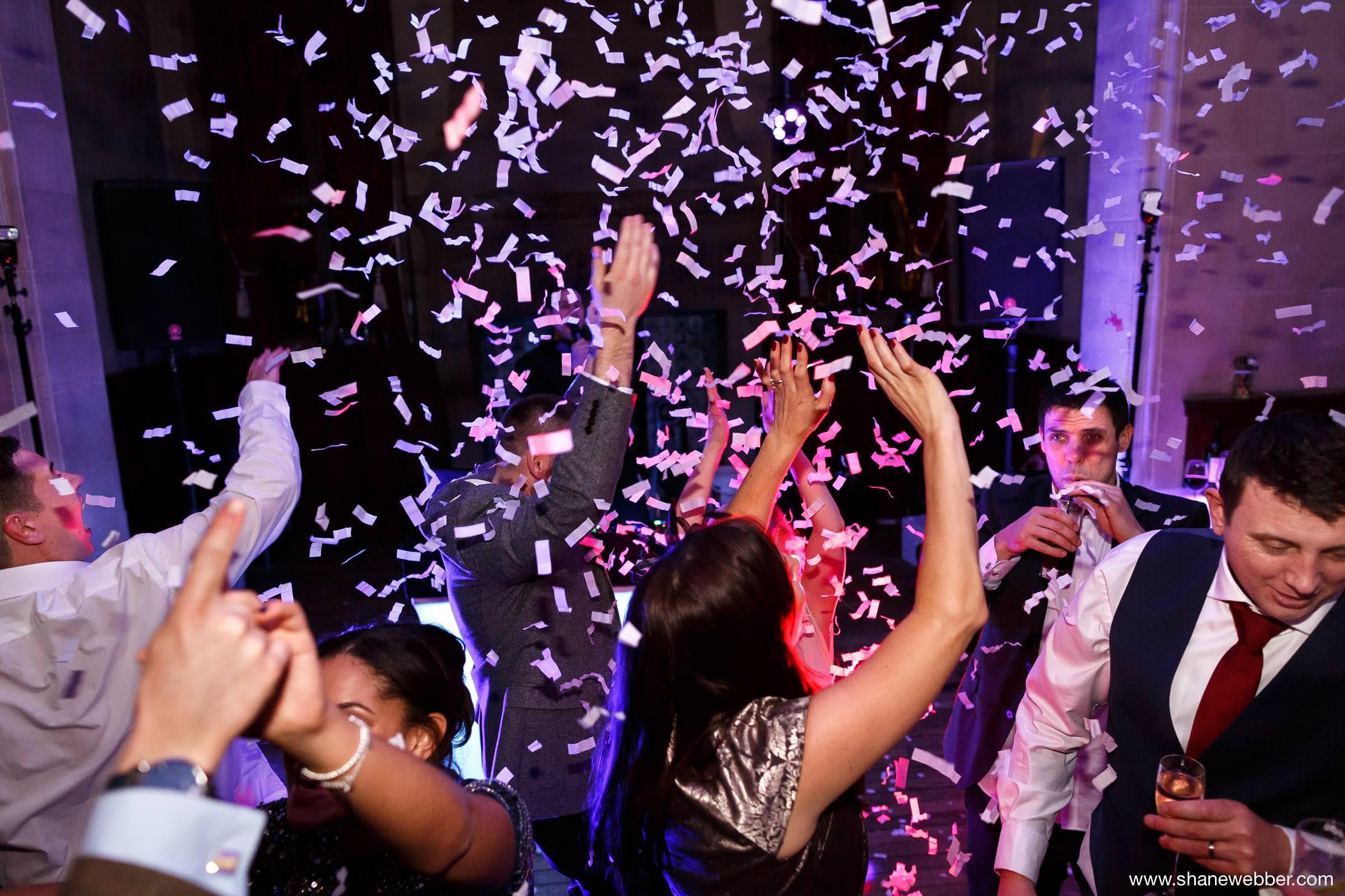 Confetti cannon at wedding