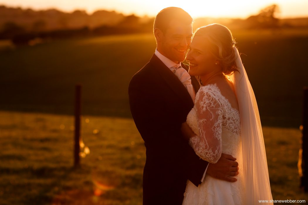Golden light wedding photo