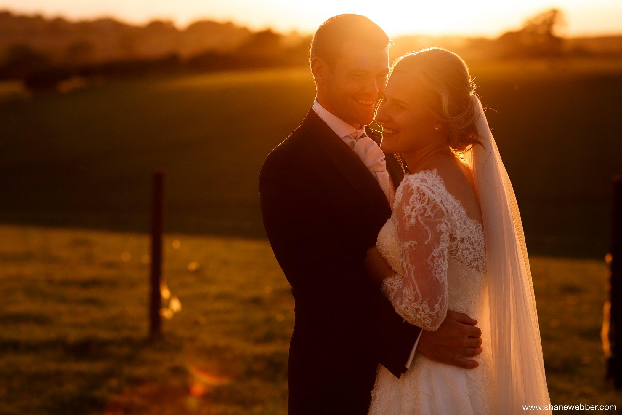 Golden light wedding photo